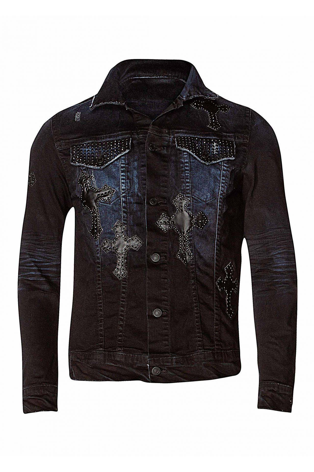 CROSS JACKET IN F_UP BLACK WITH CRYSTALS