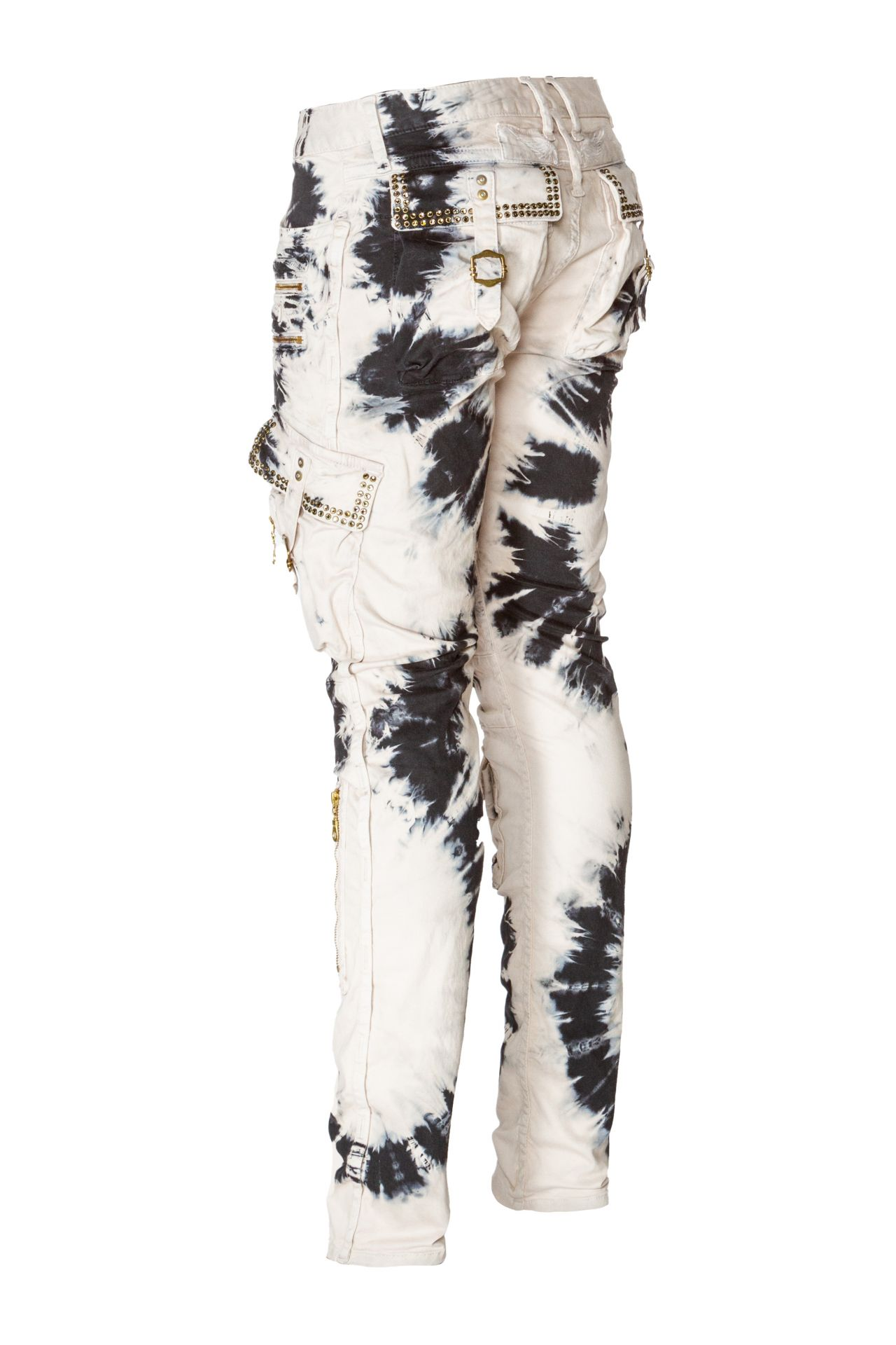 TIE DYE MILITARY CARGO WITH CRYSTALS