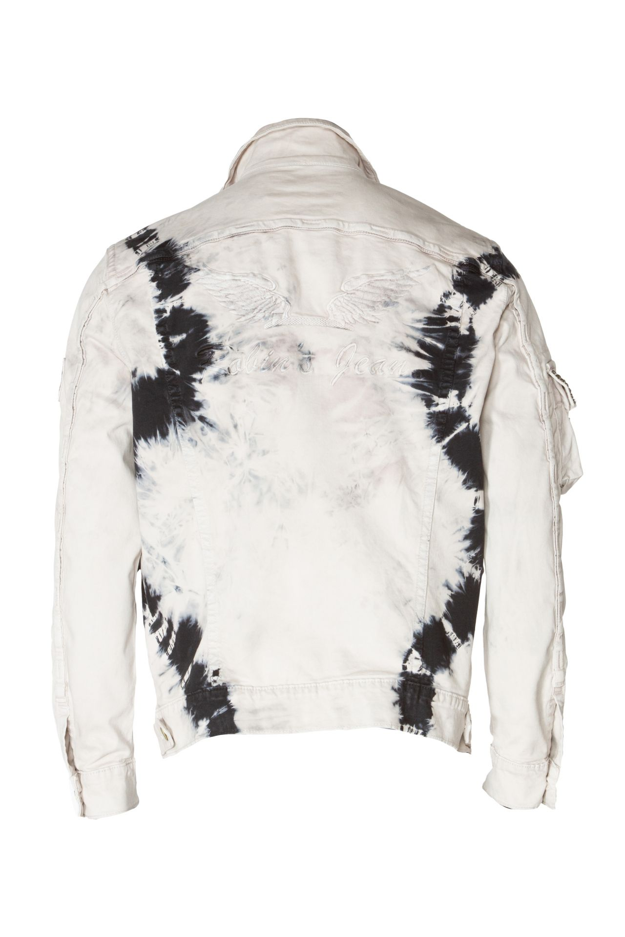 TIE DYE MILITARY JACKET WITH CRYSTALS