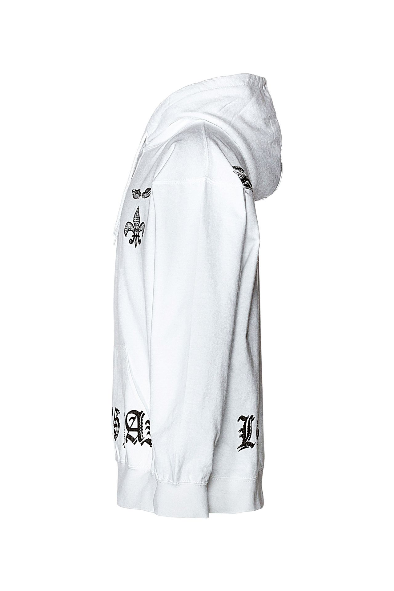 WINGS HOODIE IN WHITE WITH CRYSTALS