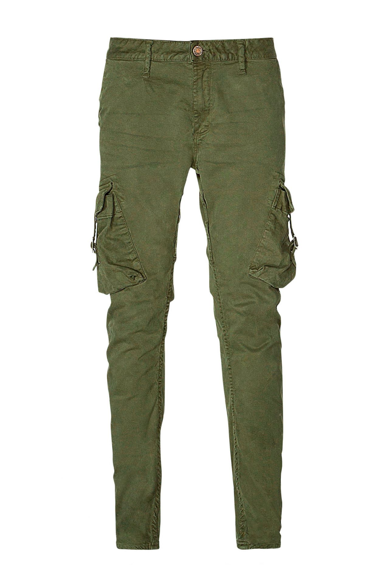 MILITARY STYLE CARGO IN GREEN OLIVE WITH CRYSTALS
