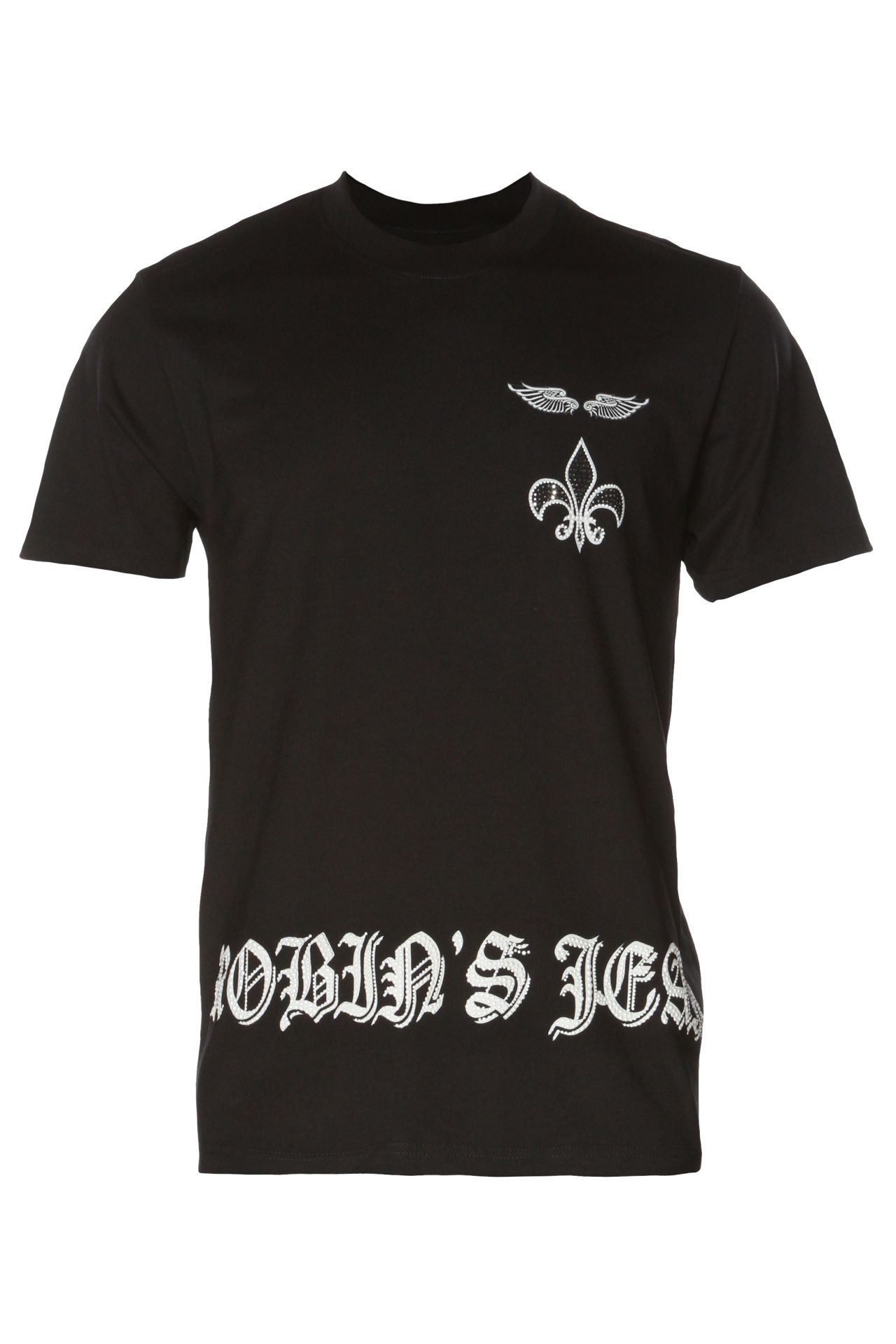 WINGS TEE IN BLACK WITH CRYSTALS