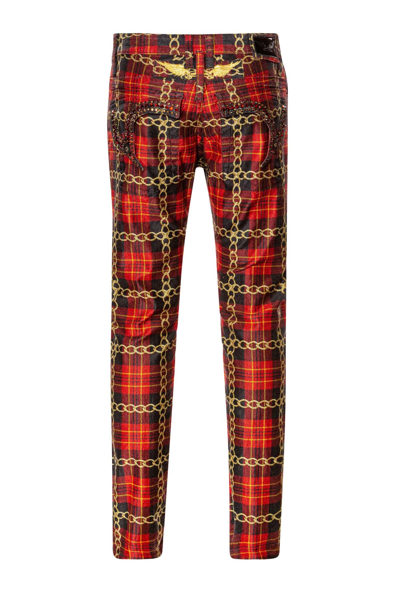 KILLER FLAP WITH CRYSTALS IN RED PLAID