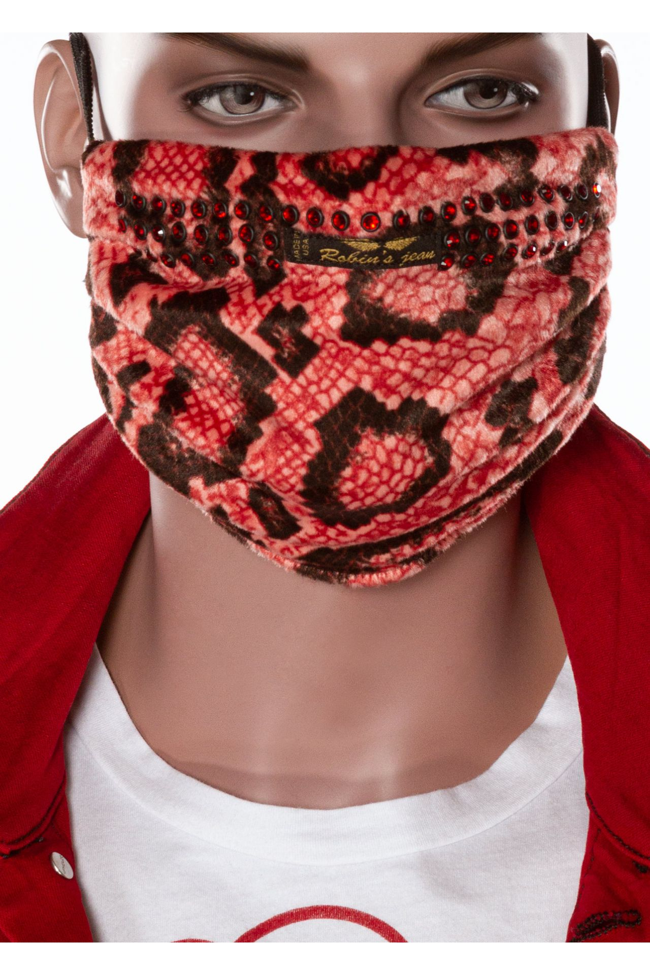 ELEMENT MASK IN RED SNAKE WITH CRYSTALS