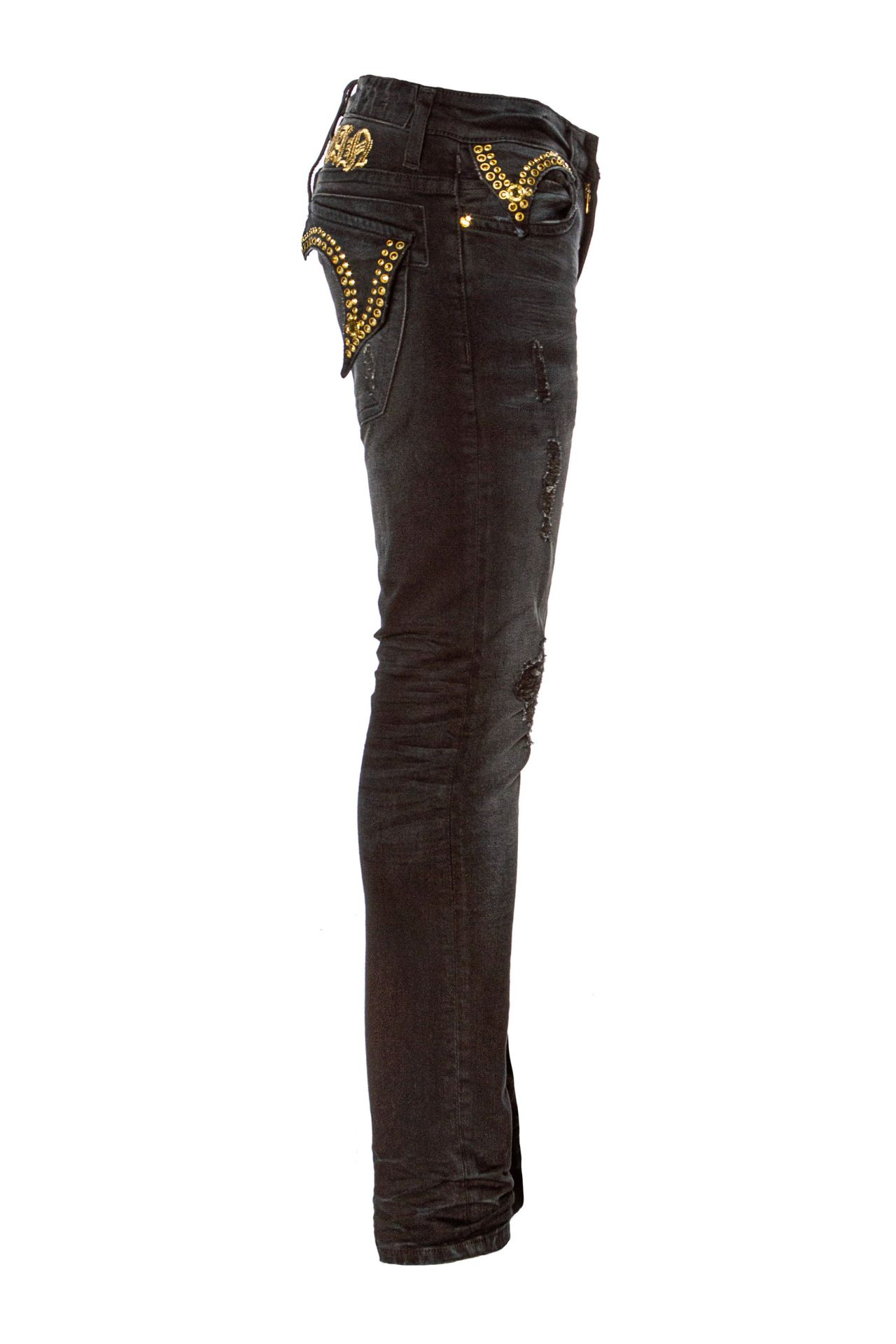 KILLER FLAP SKINNY WITH CRYSTALS IN F_UP BLACK