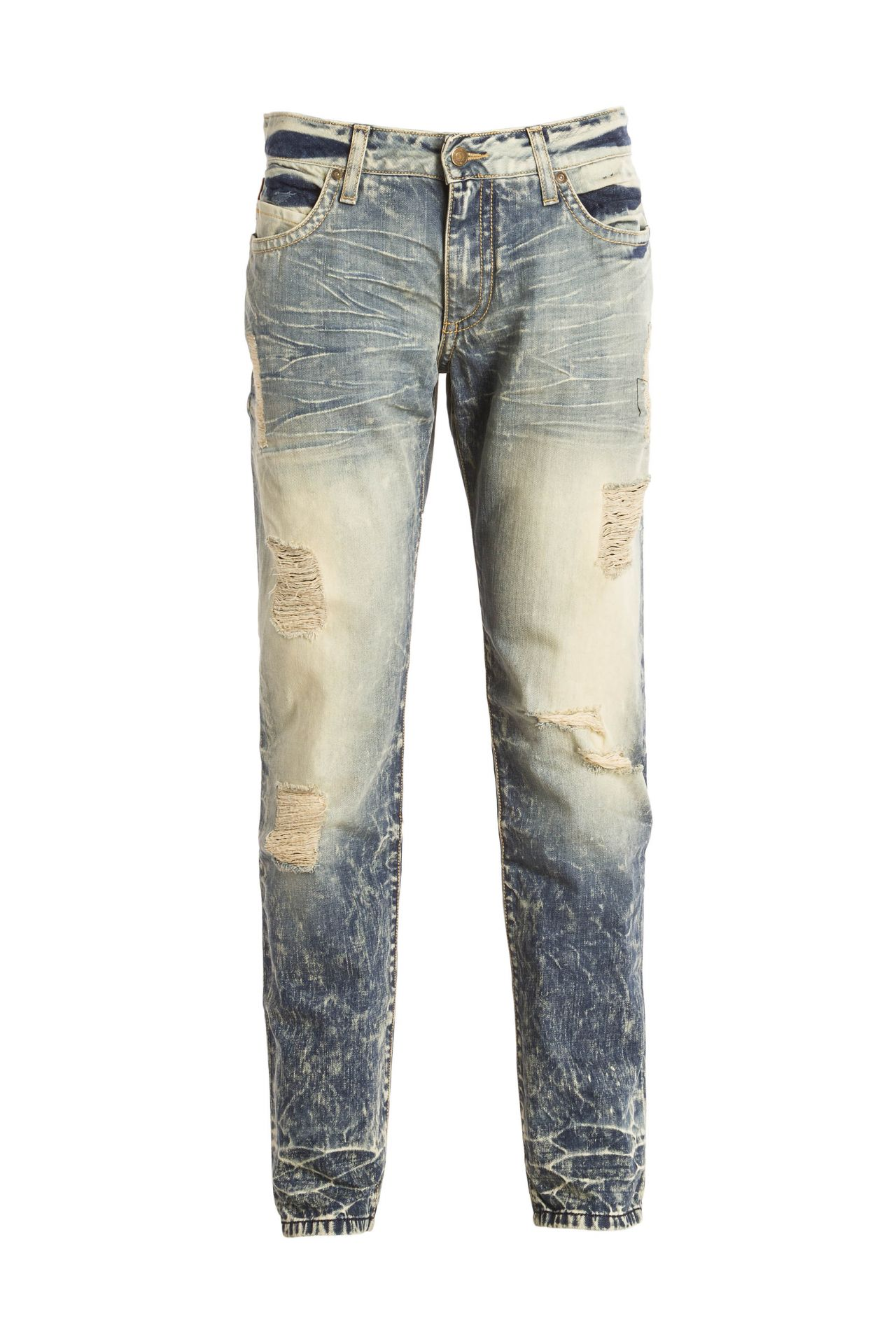 MIRRORED POCKET JEANS IN LIGHT BLUE WITH CRYSTALS