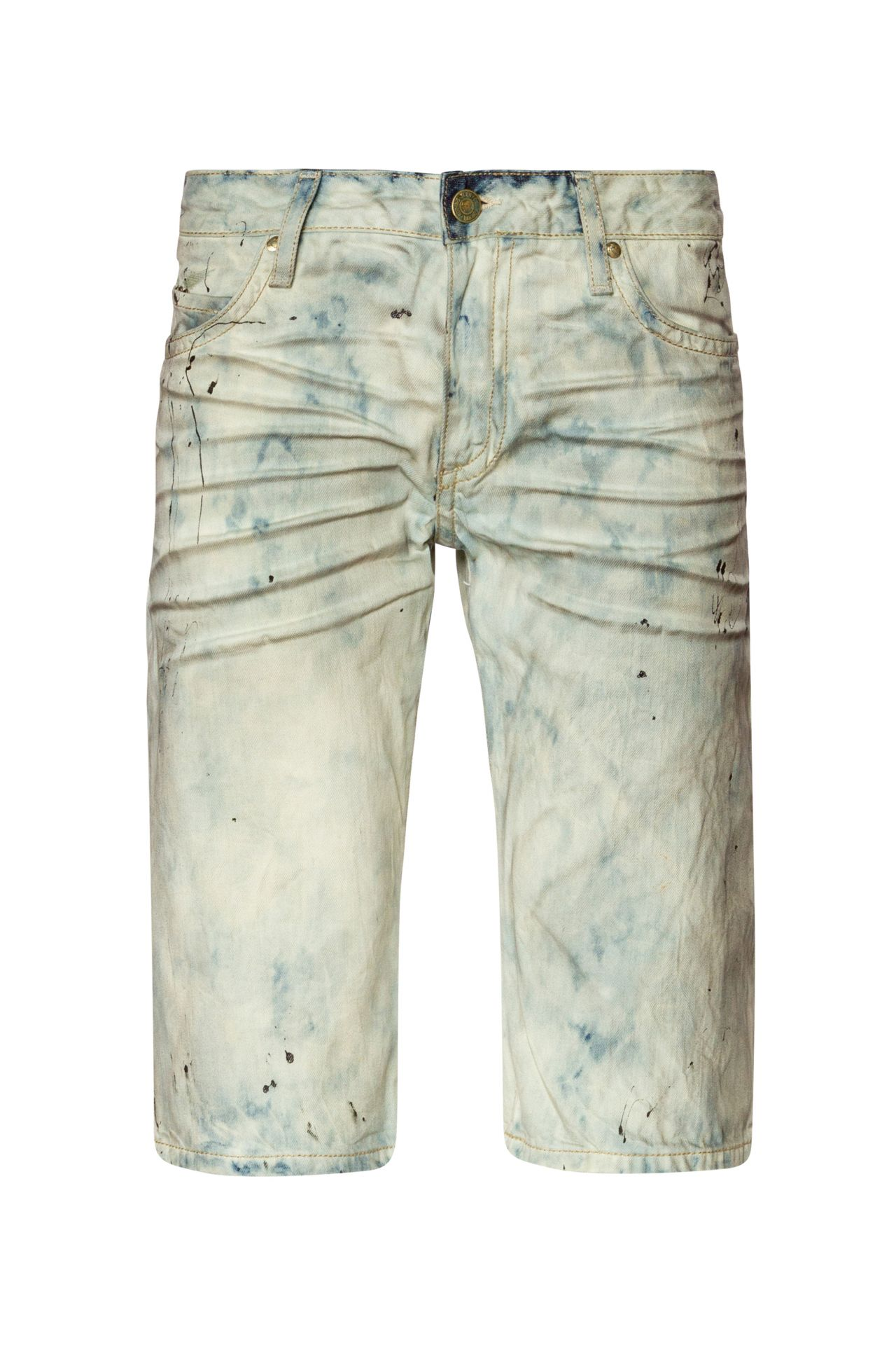 ACID WASH DOUBLE FLAP SHORTS WITH CRYSTALS