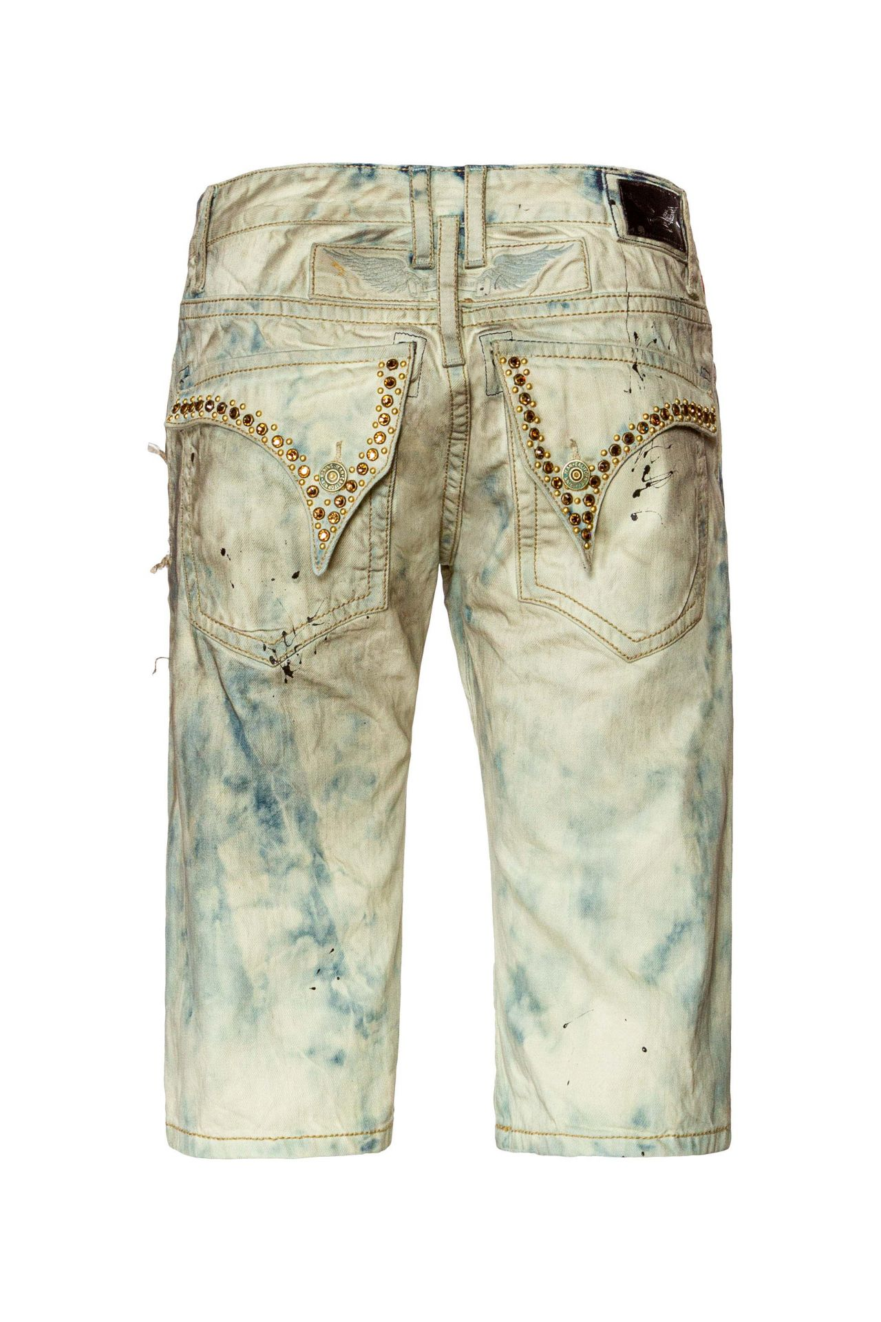 ACID WASH DESTROYED SHORTS WITH CRYSTALS