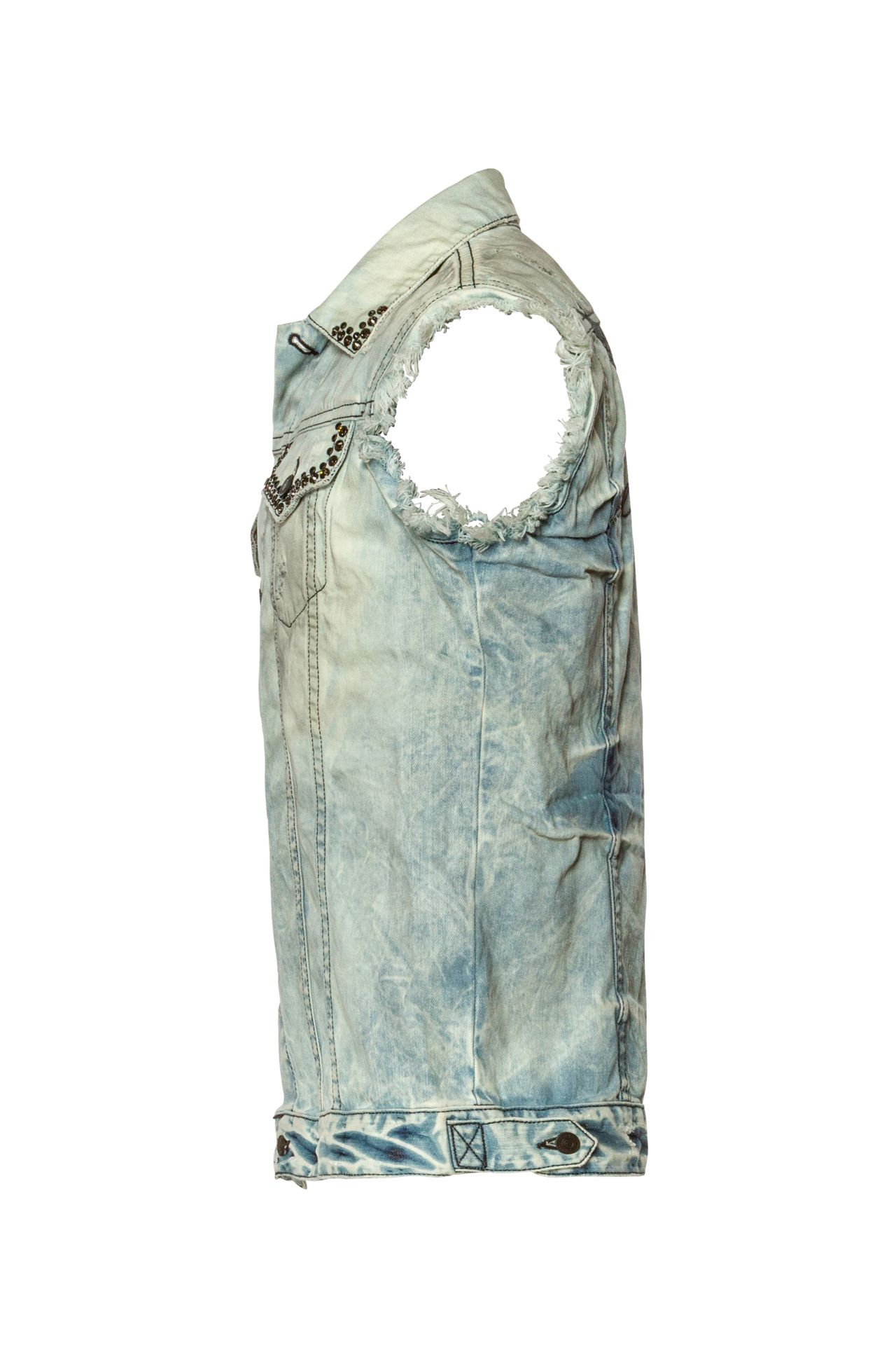 RAW EDGE WINGS VEST IN DESTROY BLUE WITH CRYSTALS