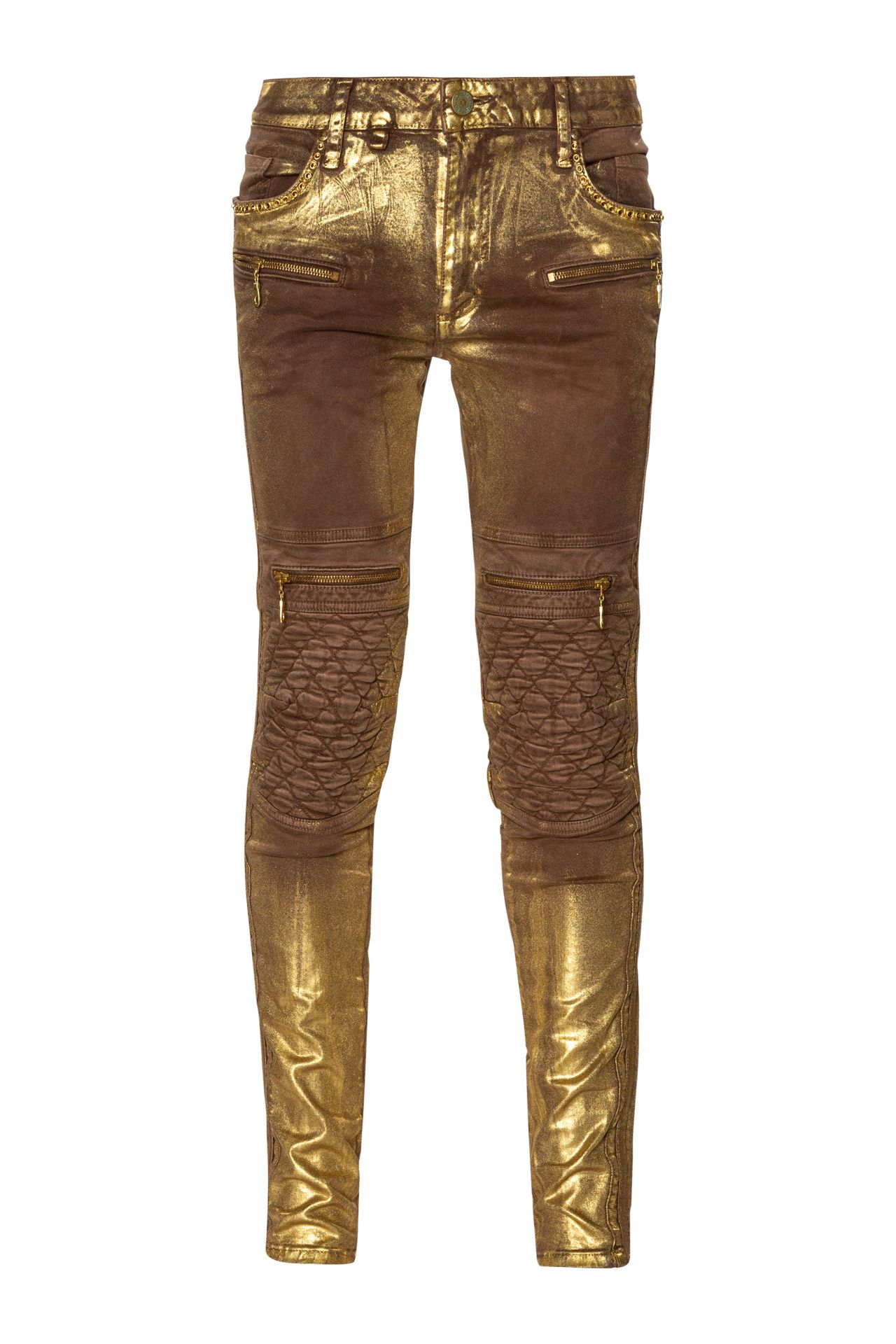 BIKER IN TOFFEE GOLD FOIL WITH CRYSTALS