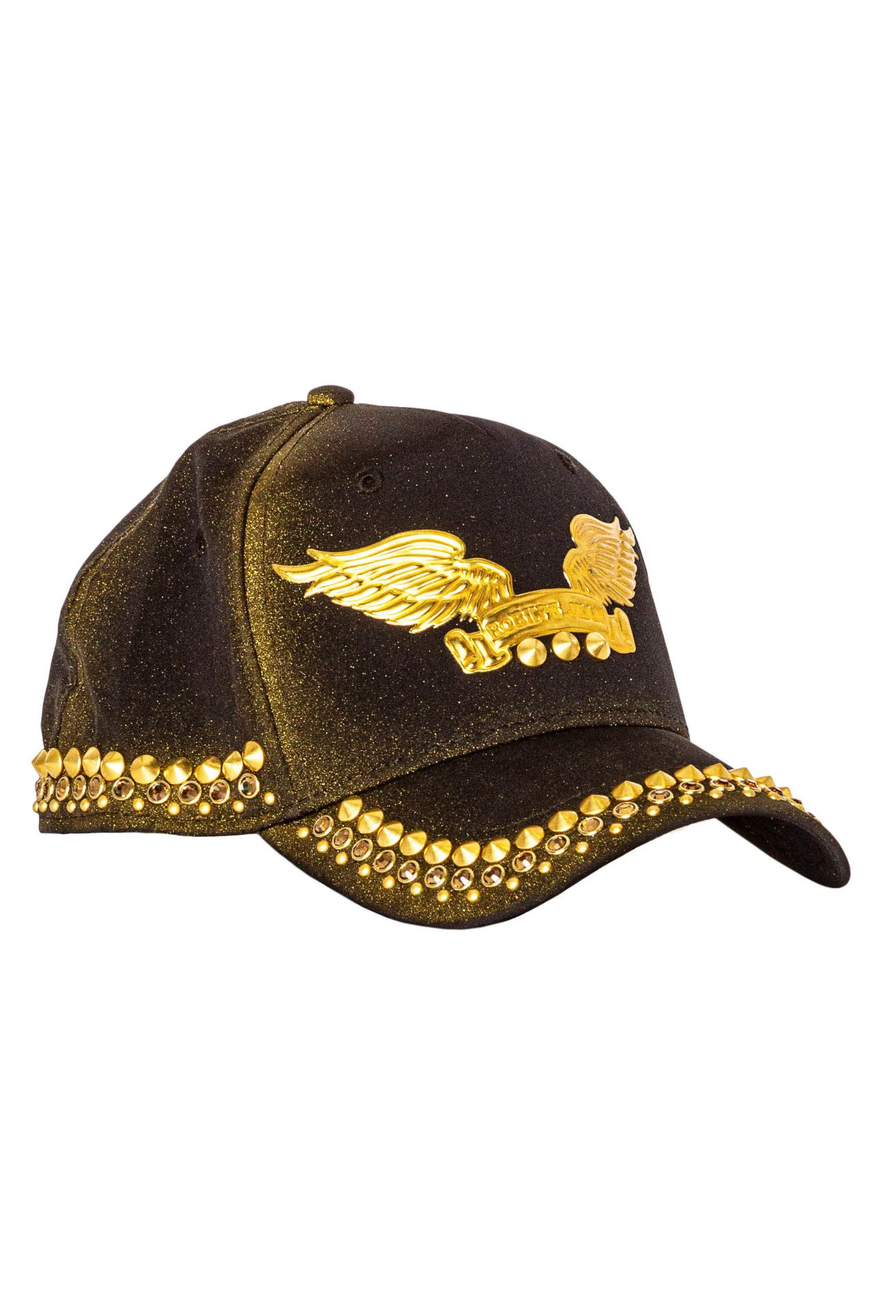 GOLD DUST CAP IN BLACK WITH GOLD WINGS AND CRYSTALS