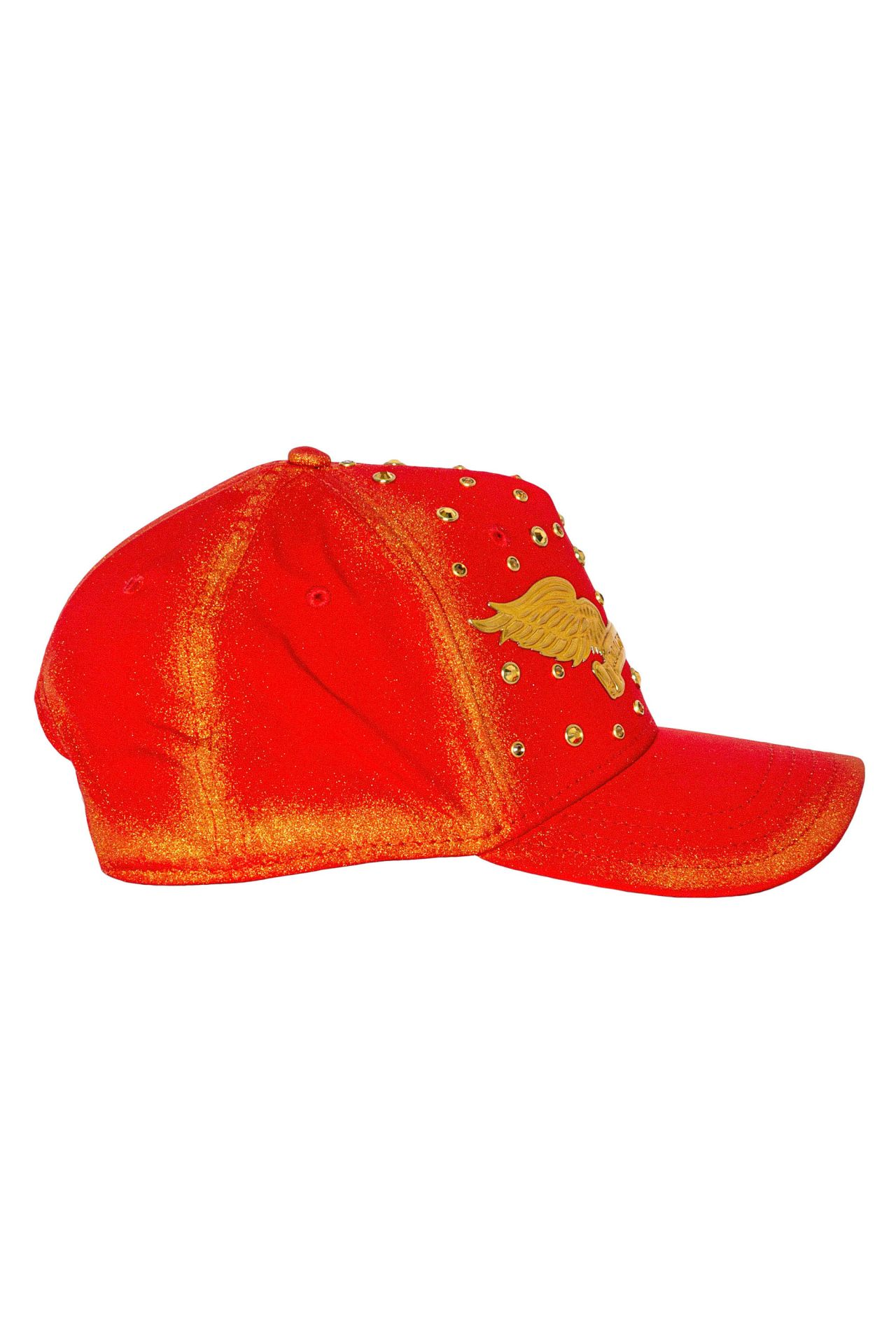 GOLD DUST CAP IN RED WITH GOLD WINGS AND SCATTERED CRYSTALS
