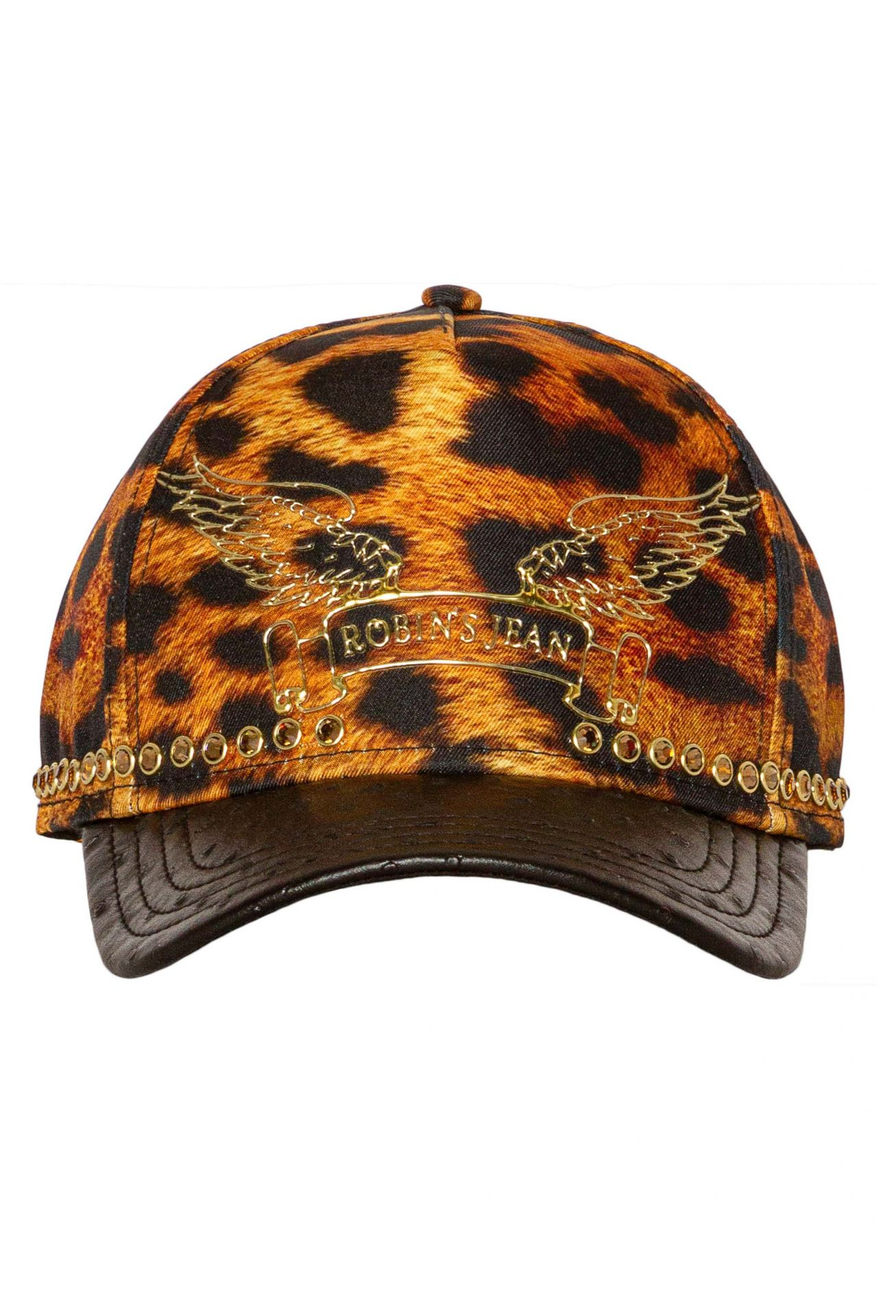 LEOPARD PRINT CAP WITH GOLD WINGS AND CRYSTALS