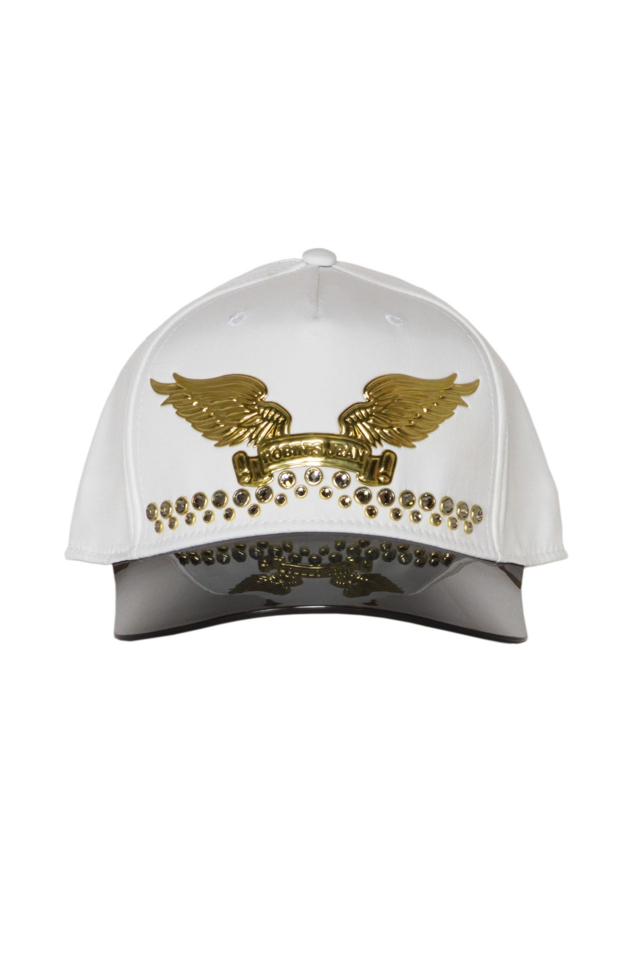 VISOR CAP IN WHITE WITH DOUBLE ROW CRYSTALS