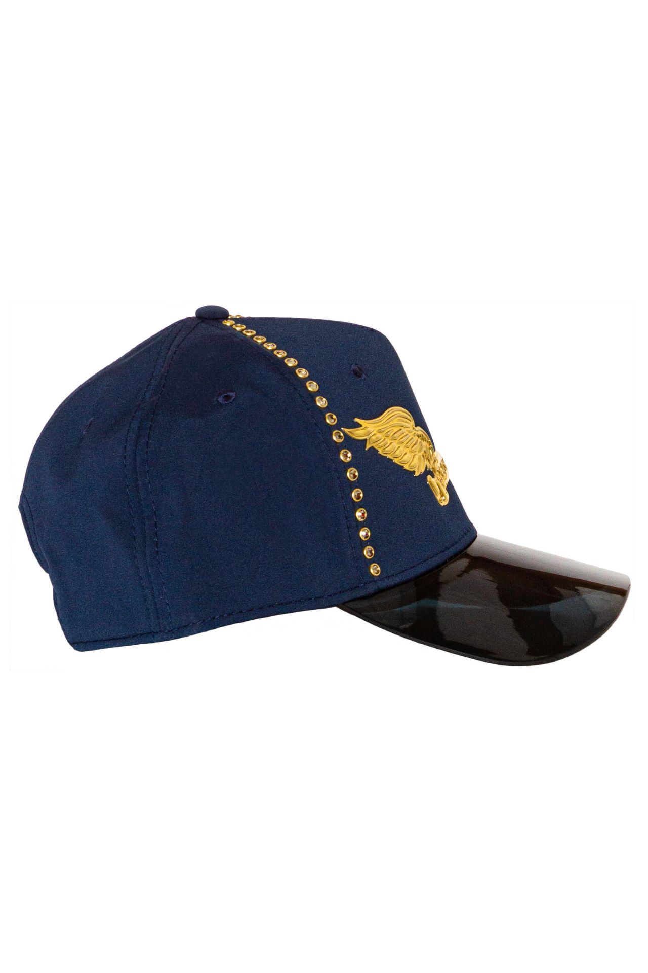 VISOR CAP IN NAVY WITH OUTLINED CRYSTALS