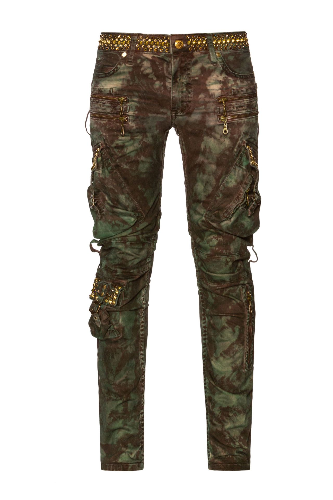 CRYSTAL LOADED MILITARY STYLE CARGO IN TIE DYE CAMO