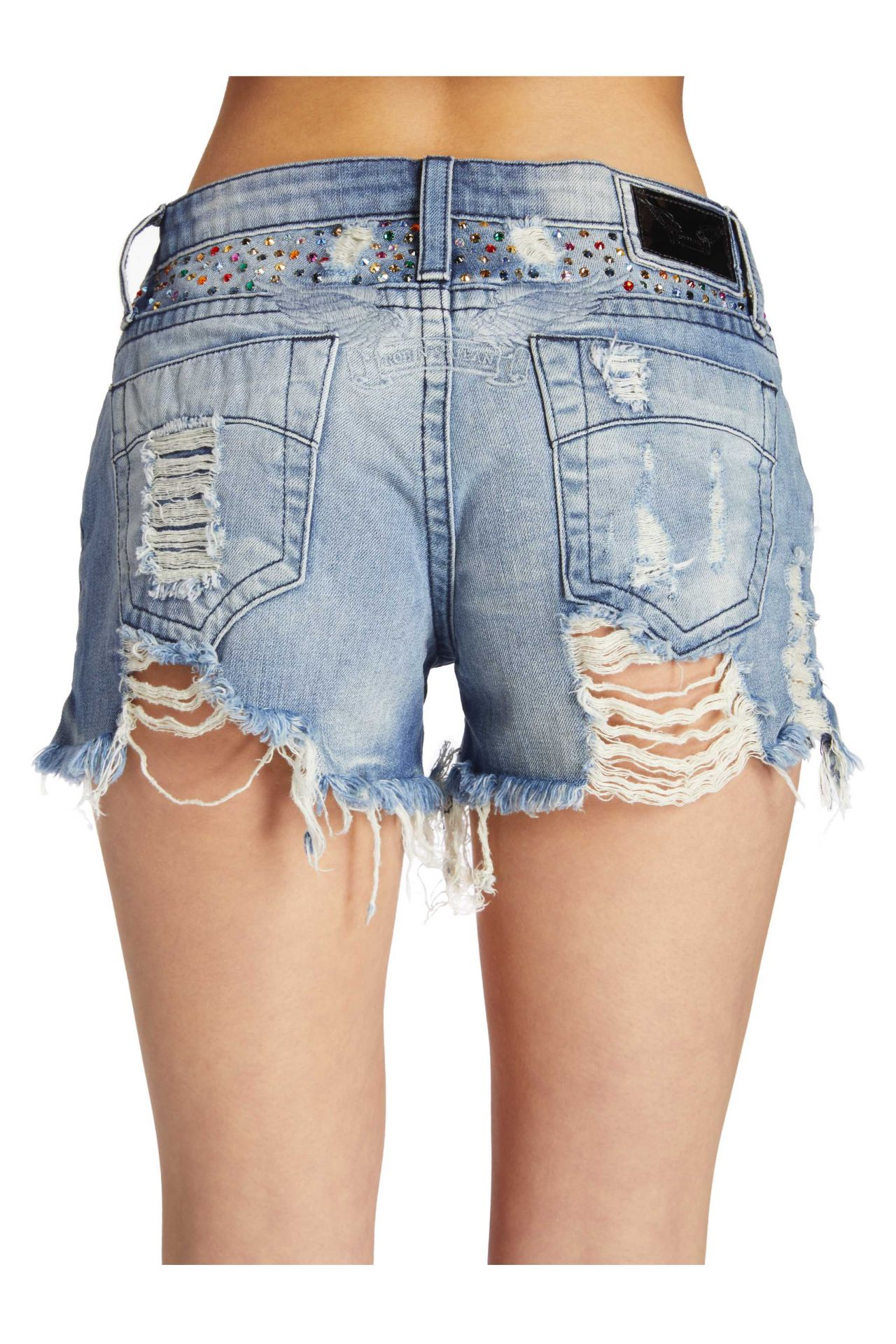 DESTROYED DENIM SHORTS WITH MULITCOLR CRYSTALS IN BLUE