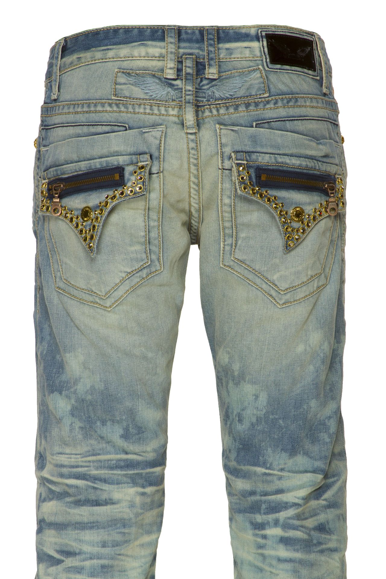 ROBINS MINI FLAP WITH CRYSTALS IN LIGHT WASH BLUE
