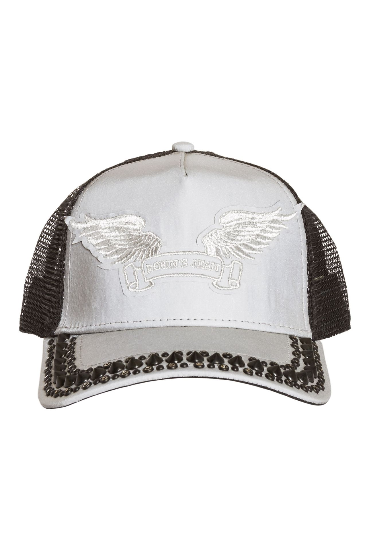 TRUCKER CAP IN REFLECTIVE GREY WITH CRYSTALS AND SPIKES
