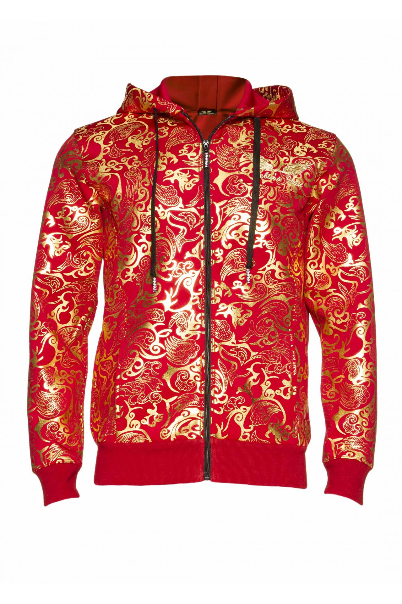 CLOUDS TRACK JACKET HOODIE IN RED AND GOLD