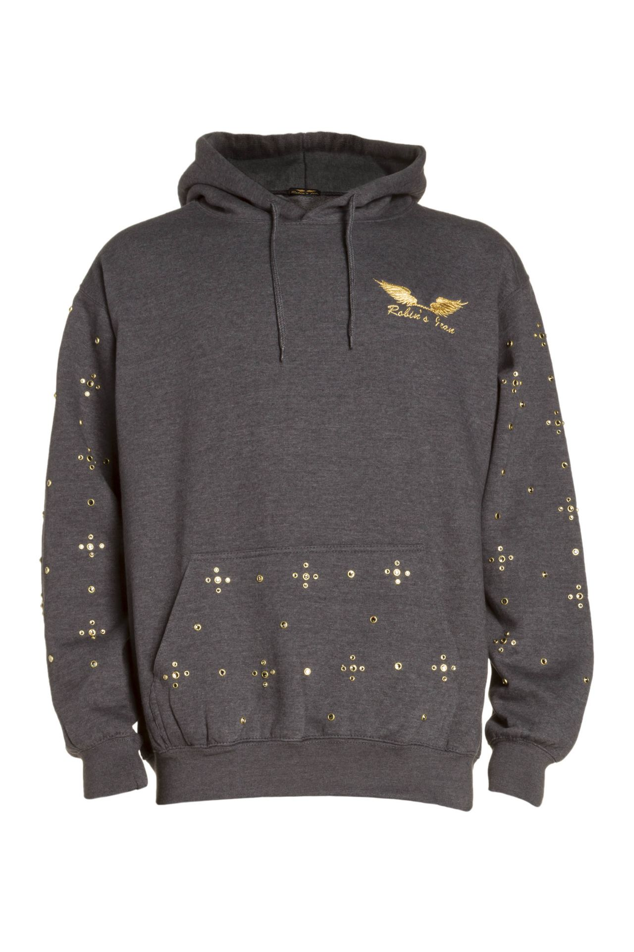 GOLD WINGS PULLOVER HOODIE WITH CRYSTALS IN GREY