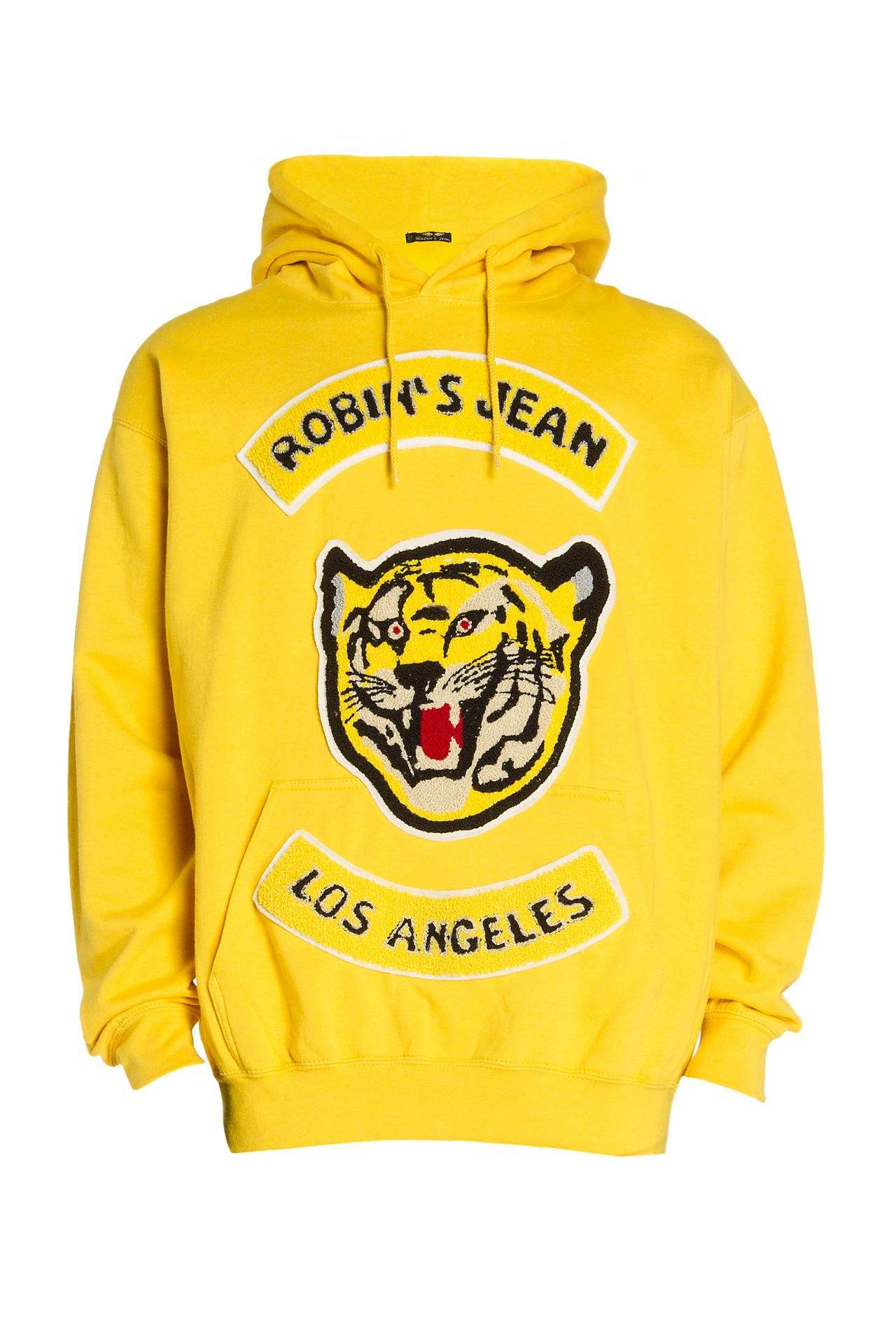 ROBINS VARSITY PULLOVER HOODIE IN YELLOW