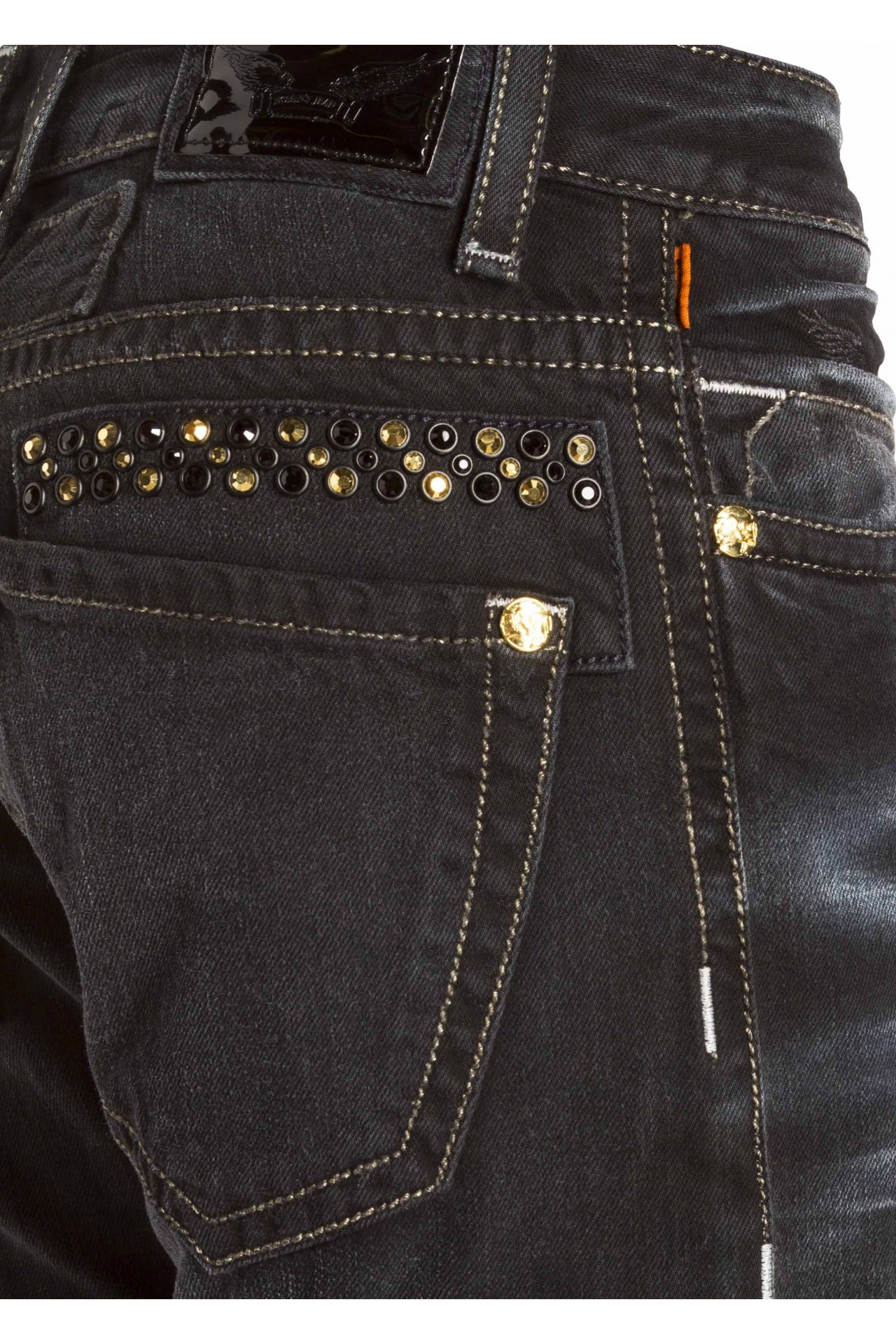 MARLON SLIM WITH CRYSTALS IN F_UP BLACK