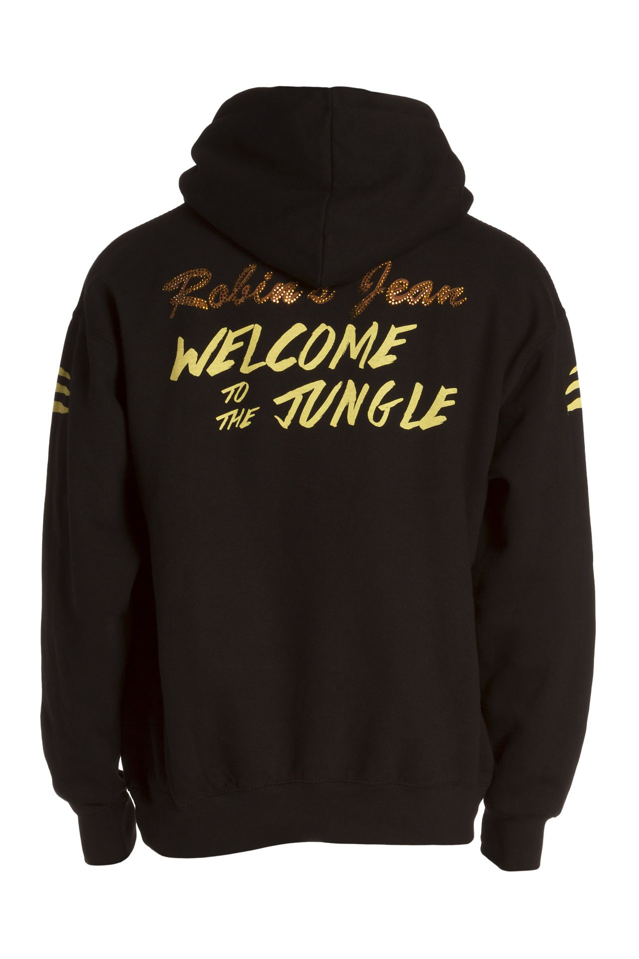 GOLDEN TIGER PULLOVER HOODIE WITH CRYSTALS IN BLACK