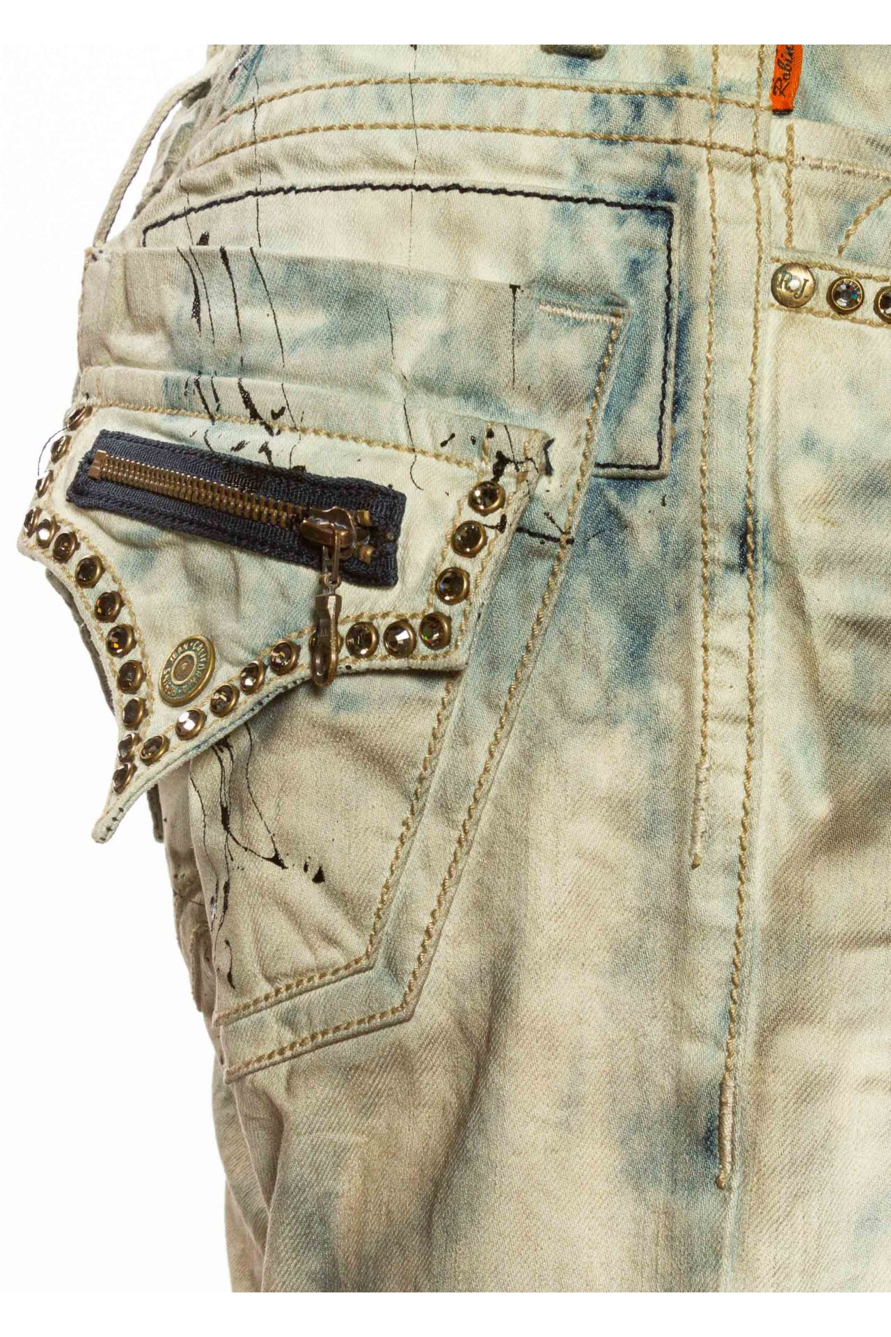 CLASSIC STRAIGHT LEG WITH CRYSTALS IN ACID WASH BLUE