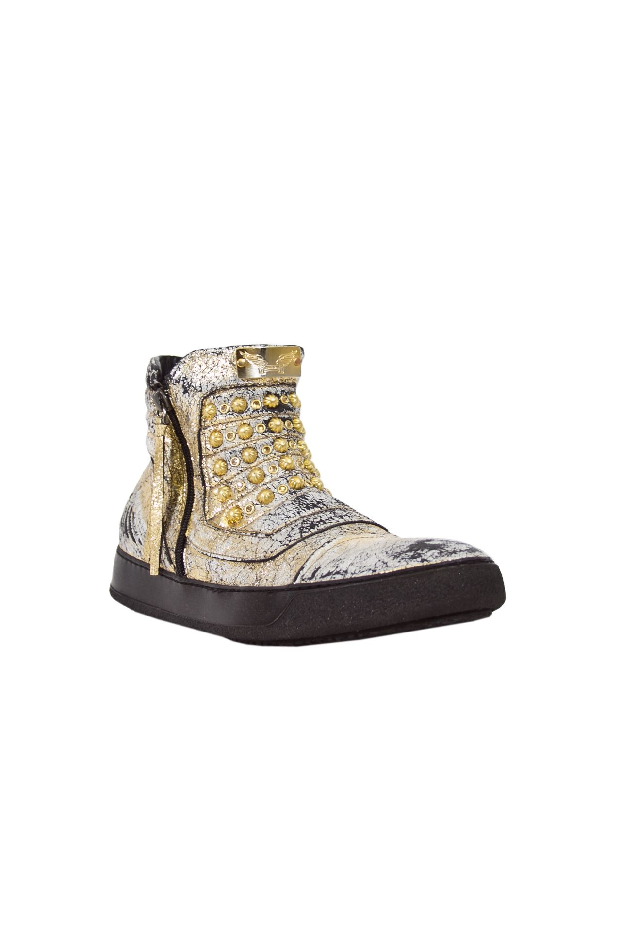 MID TOP CRACKLE GOLD STUDDED