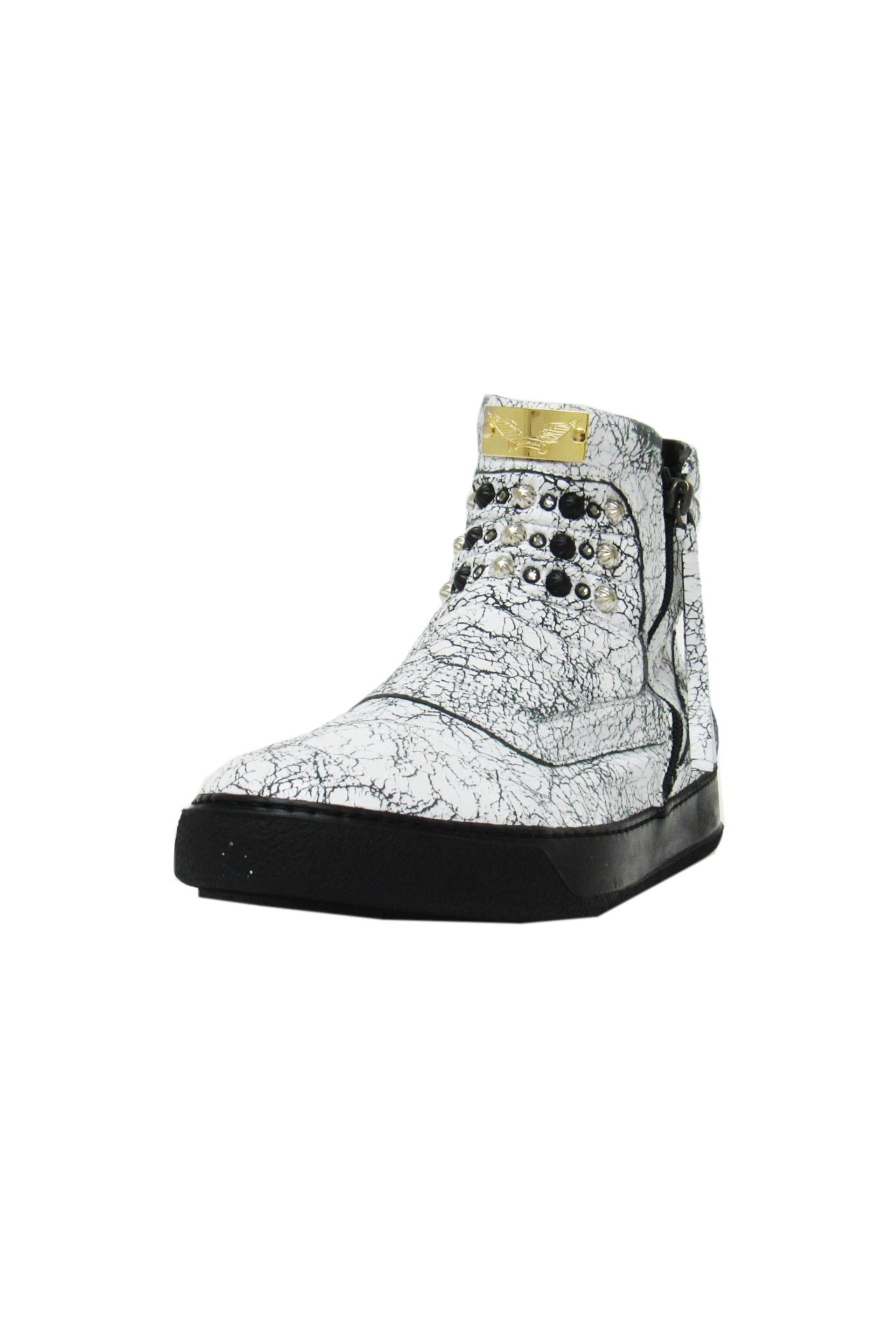 MID TOP CRACKLE WHITE STUDDED