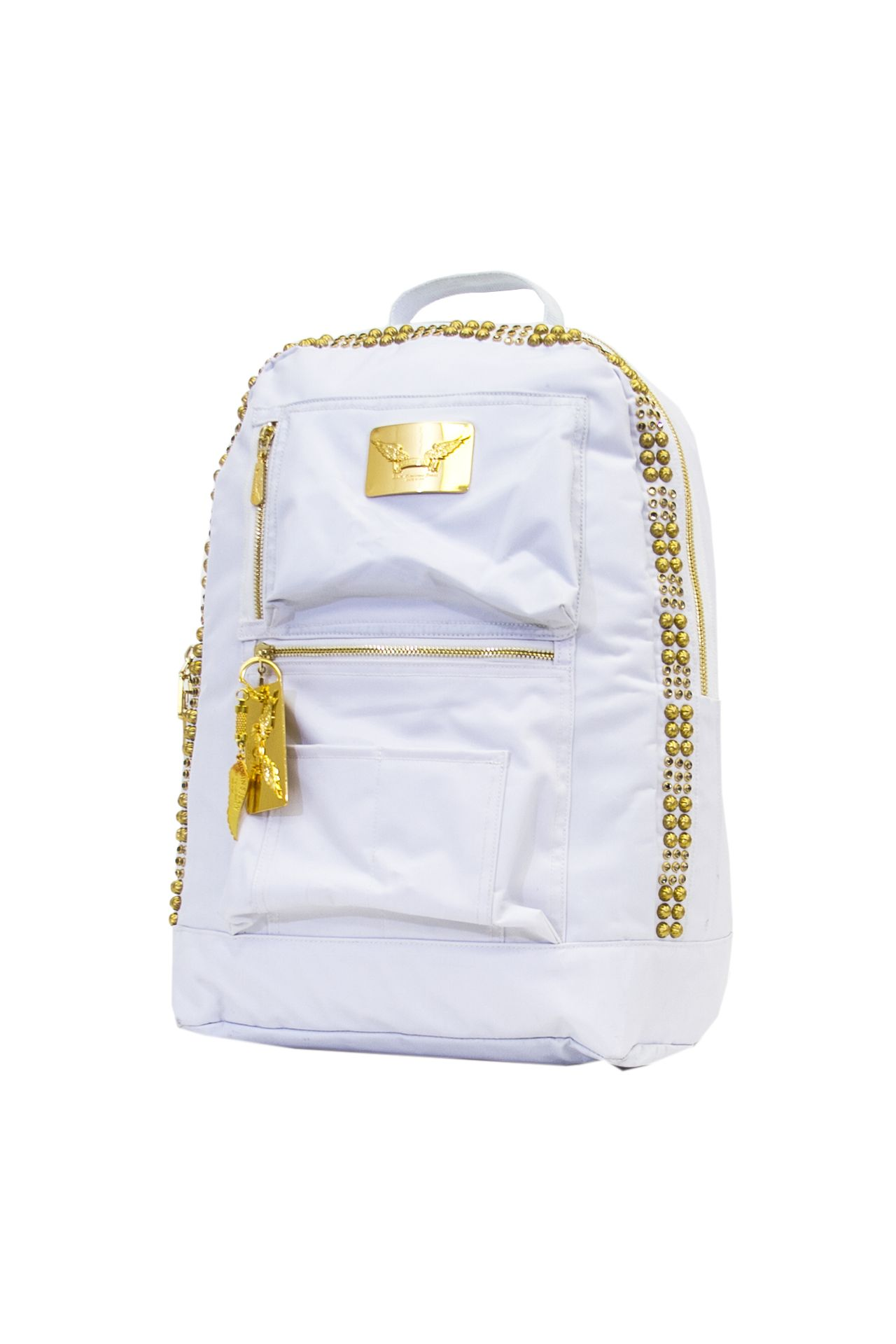 ROBIN'S JEAN STUDDED NYLON BACKPACK IN WHITE