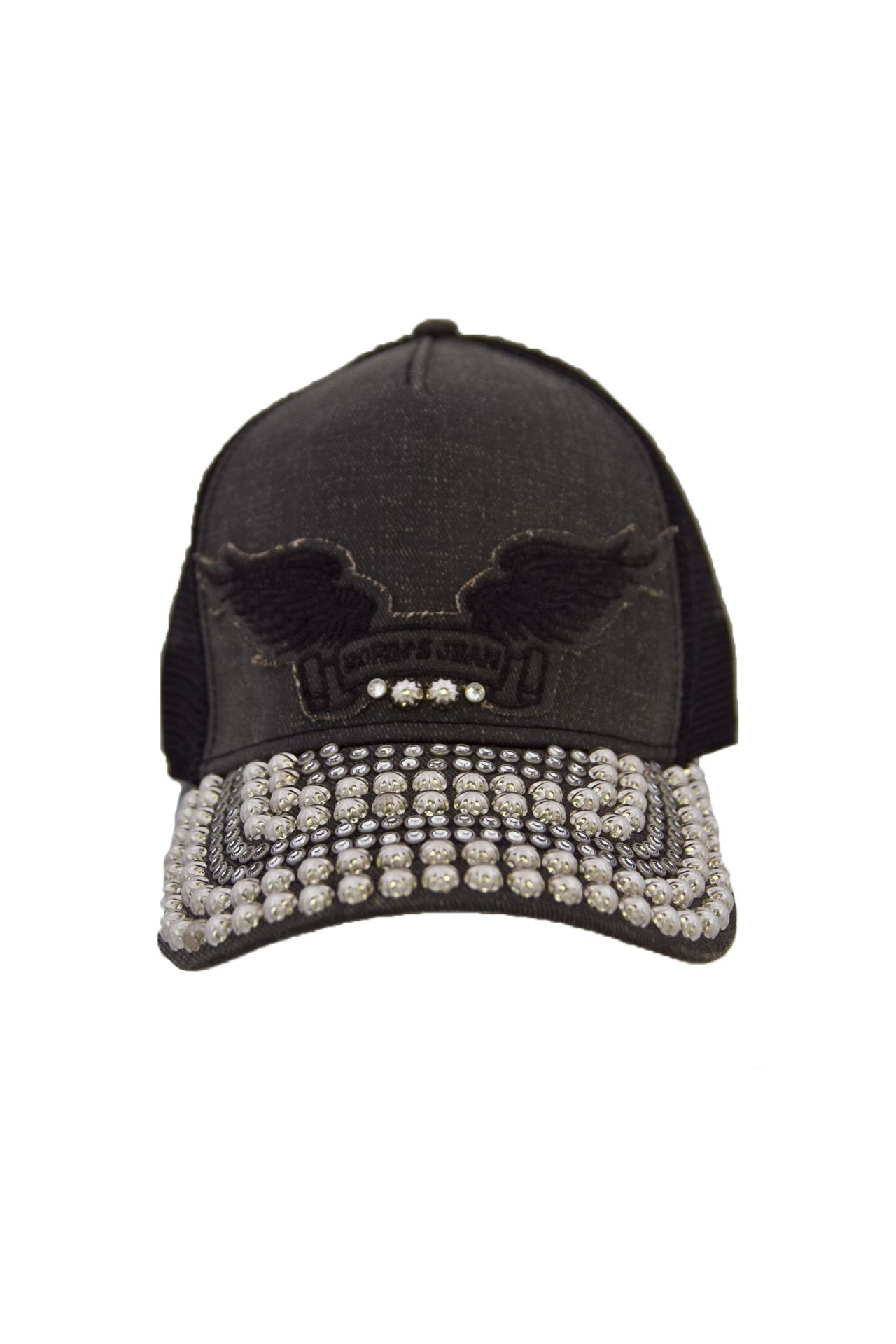 BLACK COATING TWILL CAP STUDS AND CRYSTALS