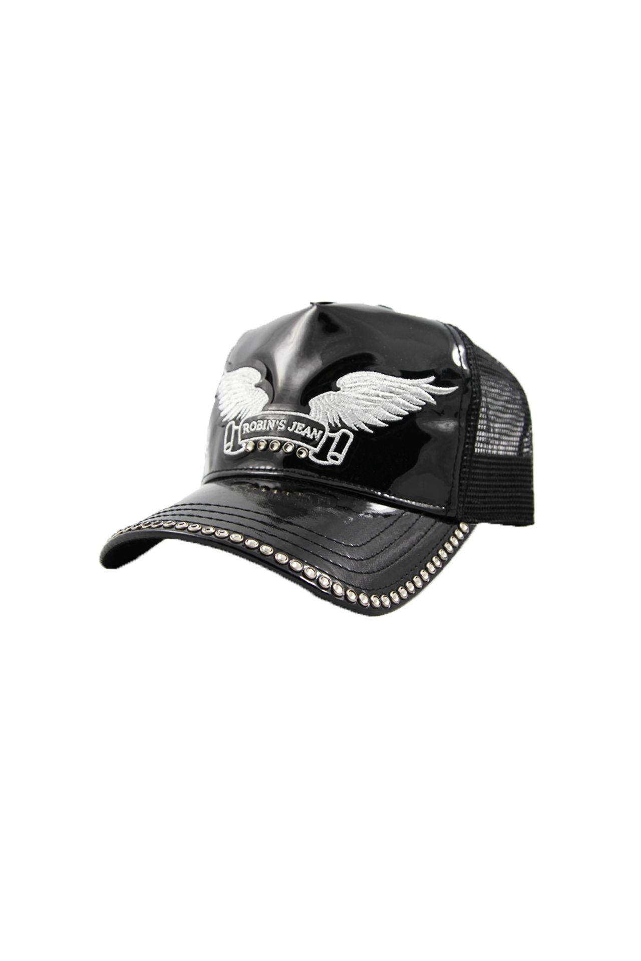 BLACK PATENT LEATHER CAP STUDDED
