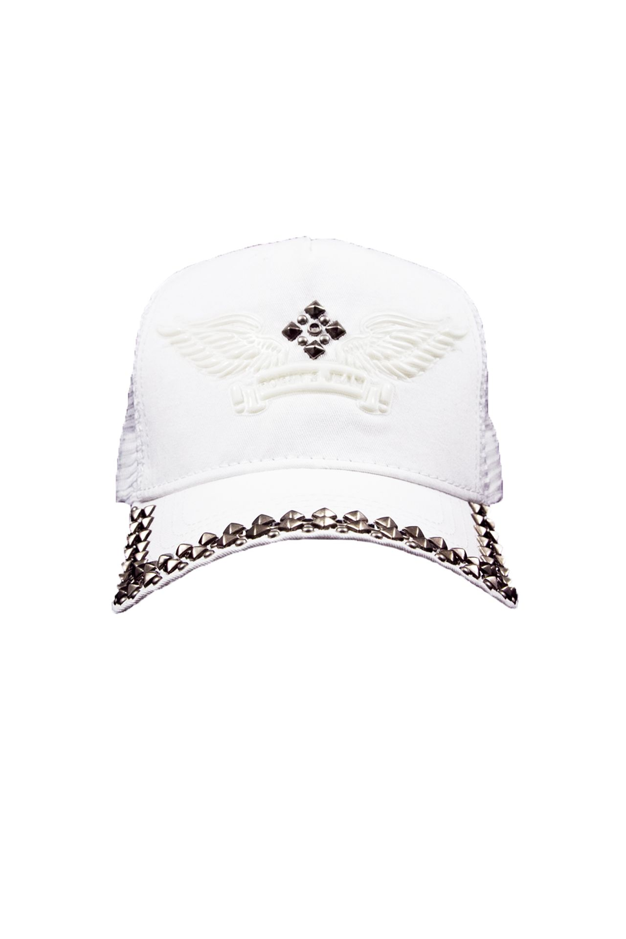 WHITE TWILL CAP 3D STUDDED