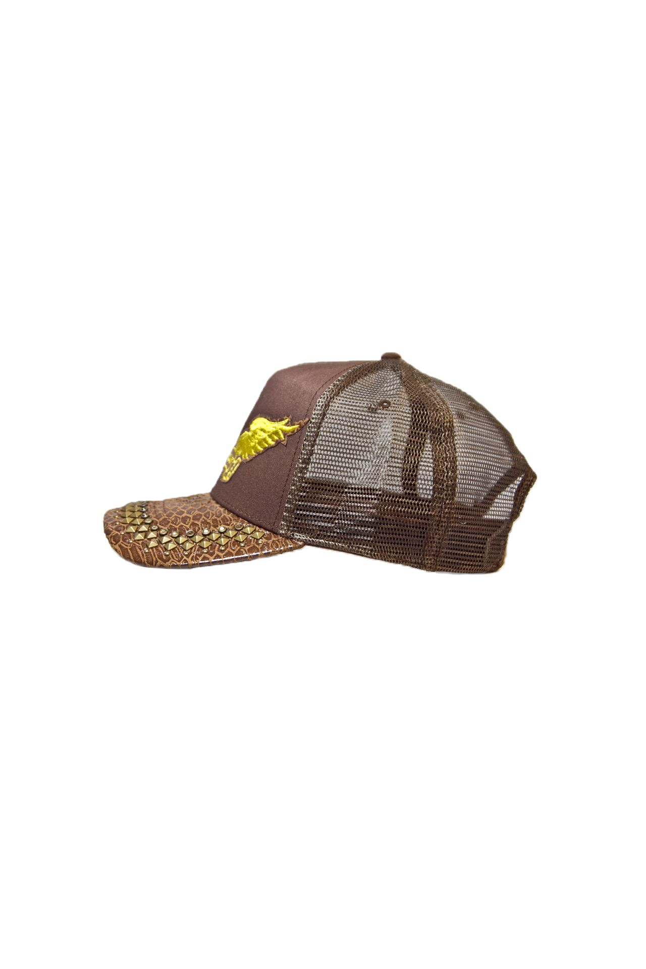 BROWN TWILL CAP WITH PYRAMIDS AND CRYSTALS