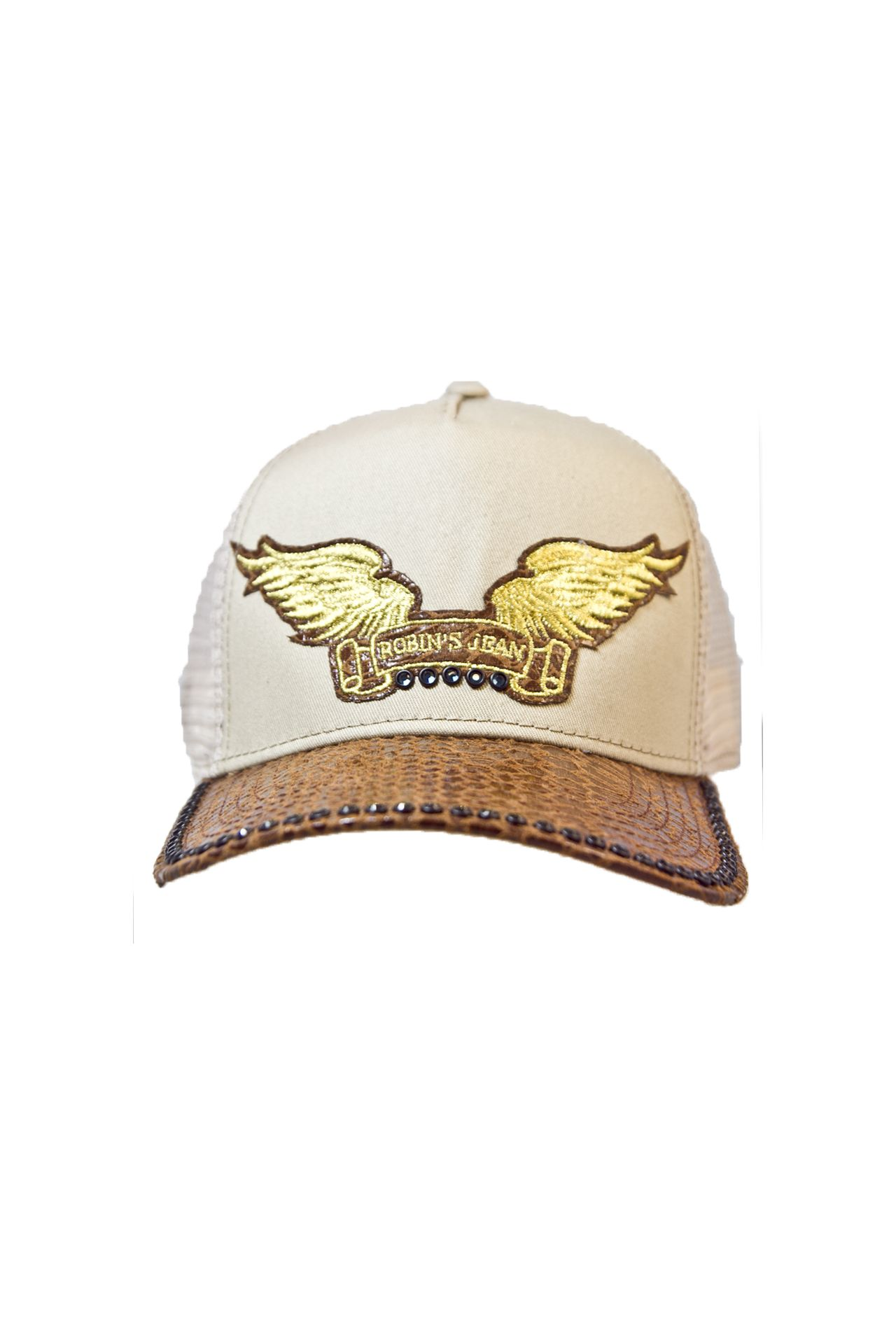KHAKI TWILL CAP WITH CRYSTALS