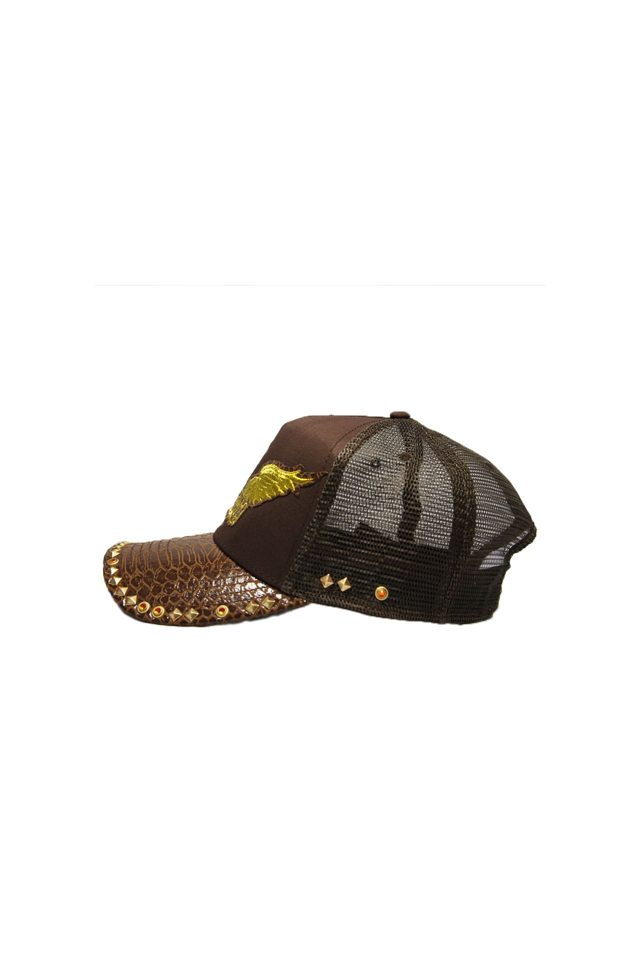 BROWN TWILL CAP WITH STUDS AND CRYSTALS