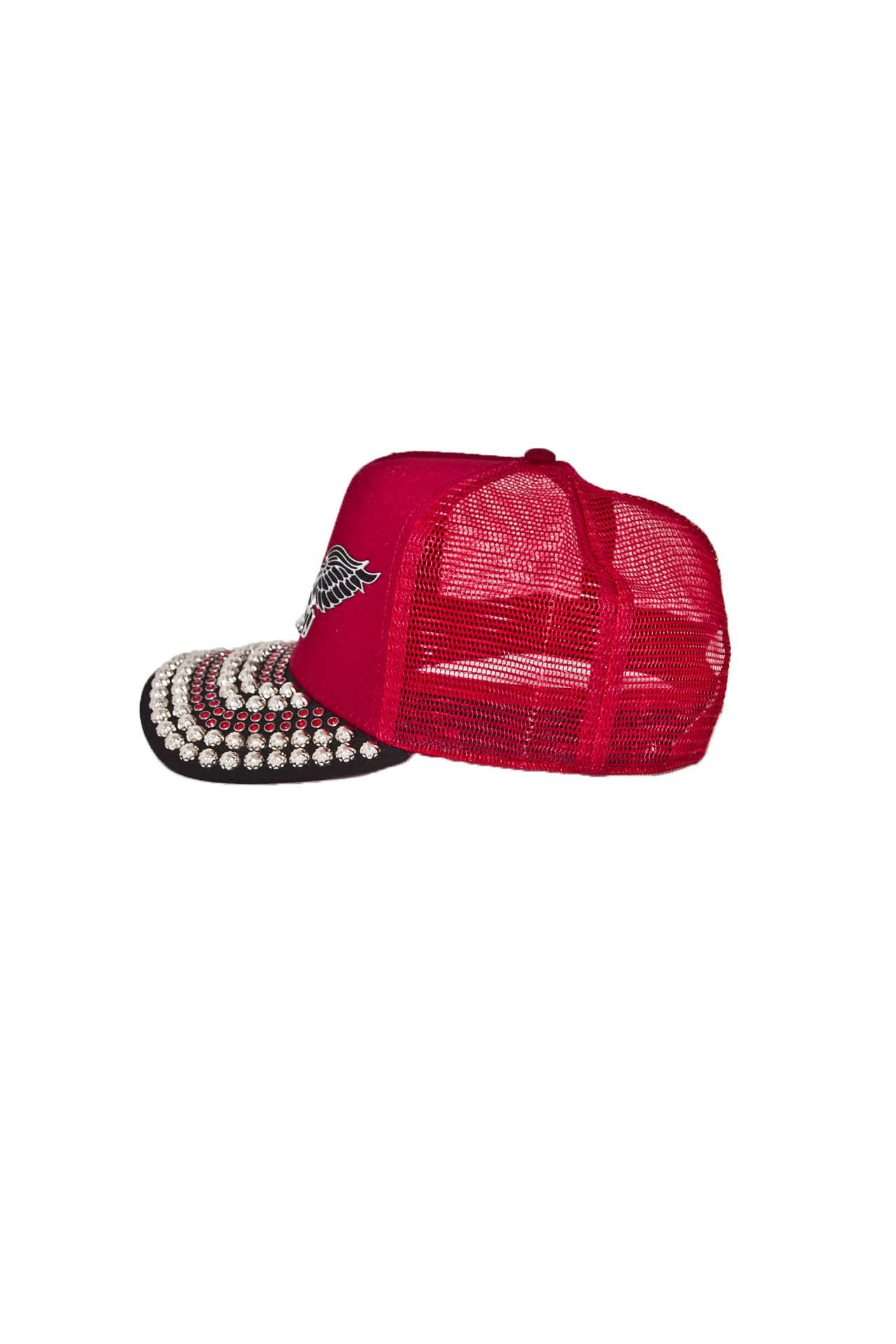 TWILL CAP BURGUNDY STUDS AND CRYSTALS