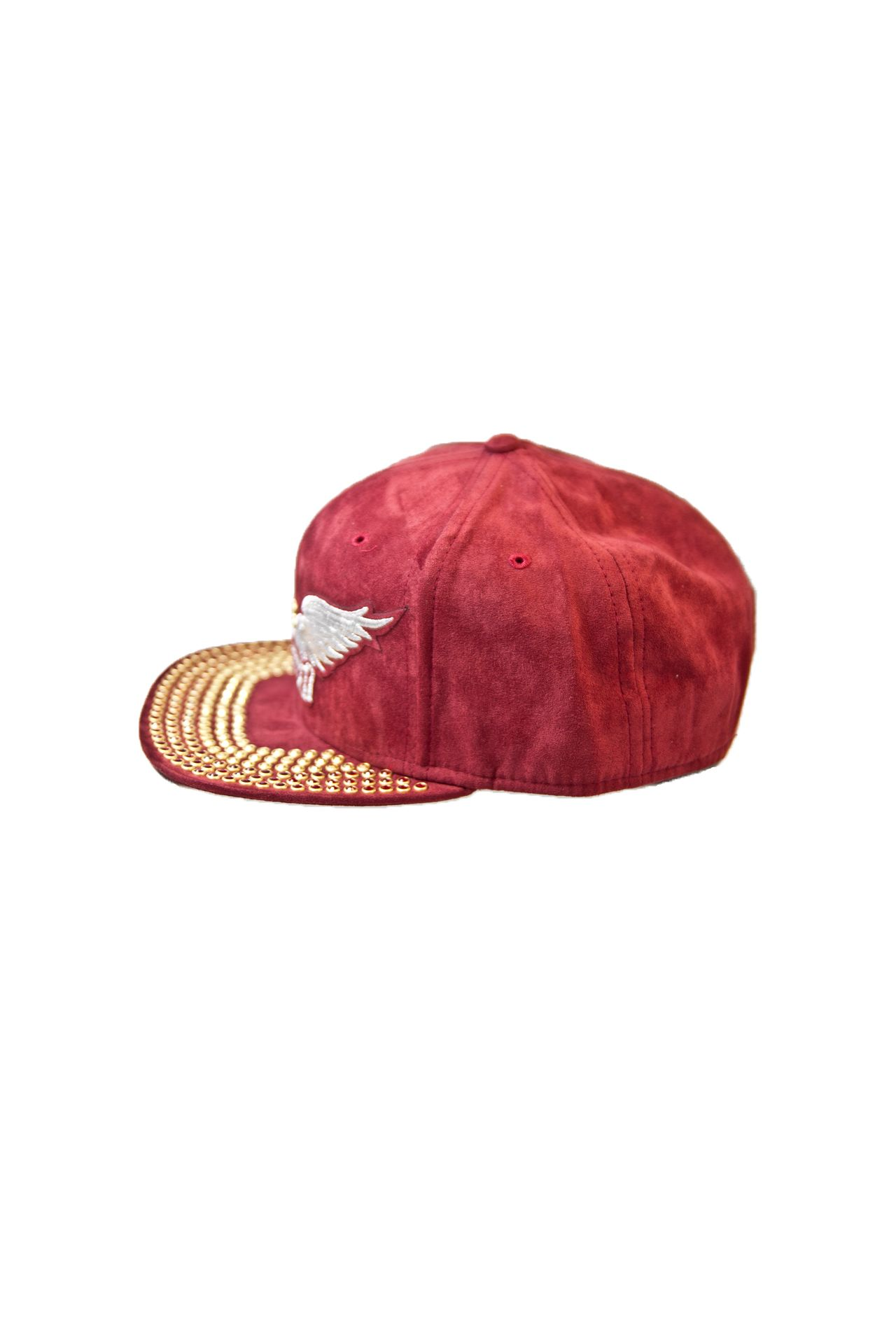 BURGUNDY SUEDE CAP WITH CRYSTALS