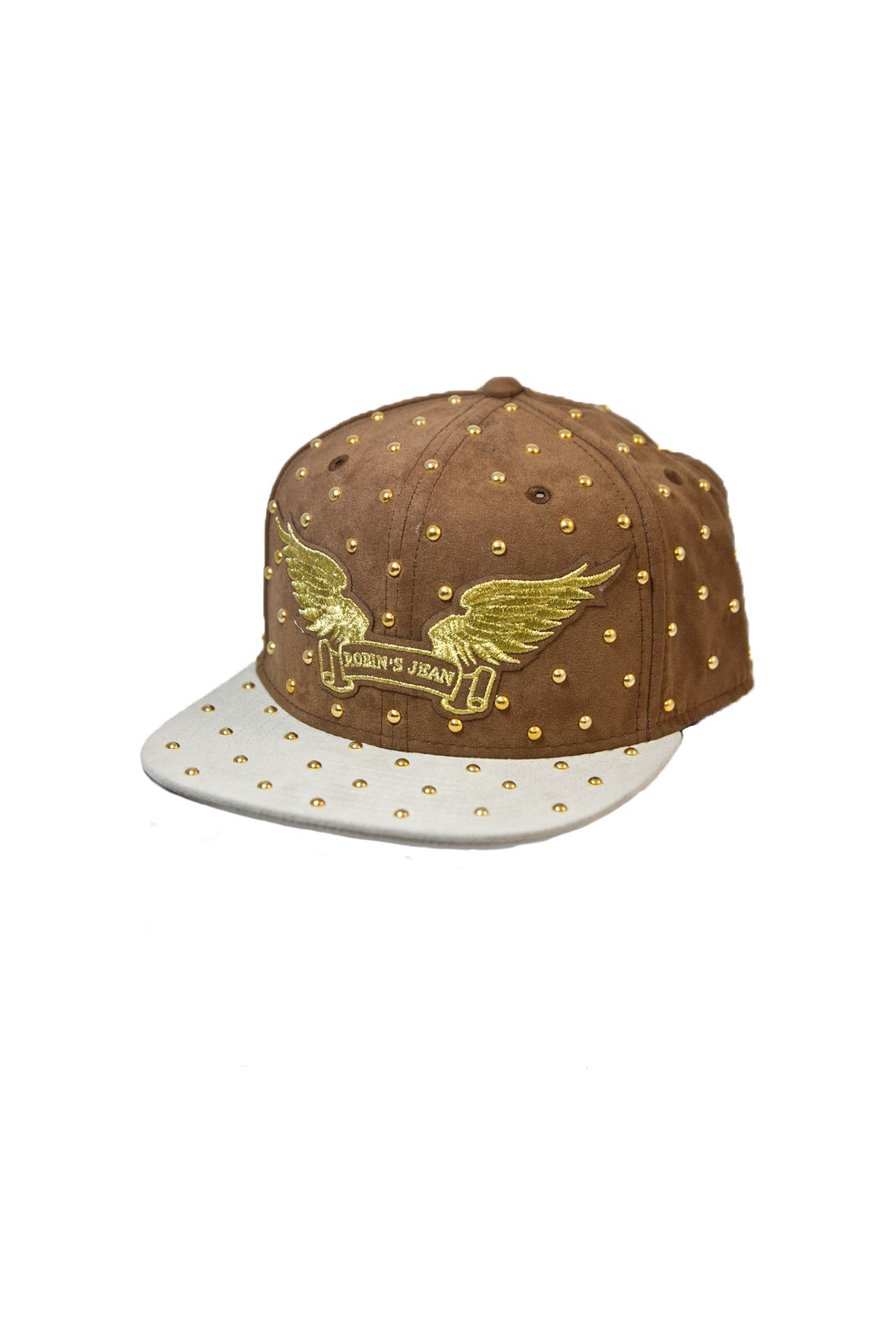 COFFEE SUEDE CAP 2 TONES STUDDED