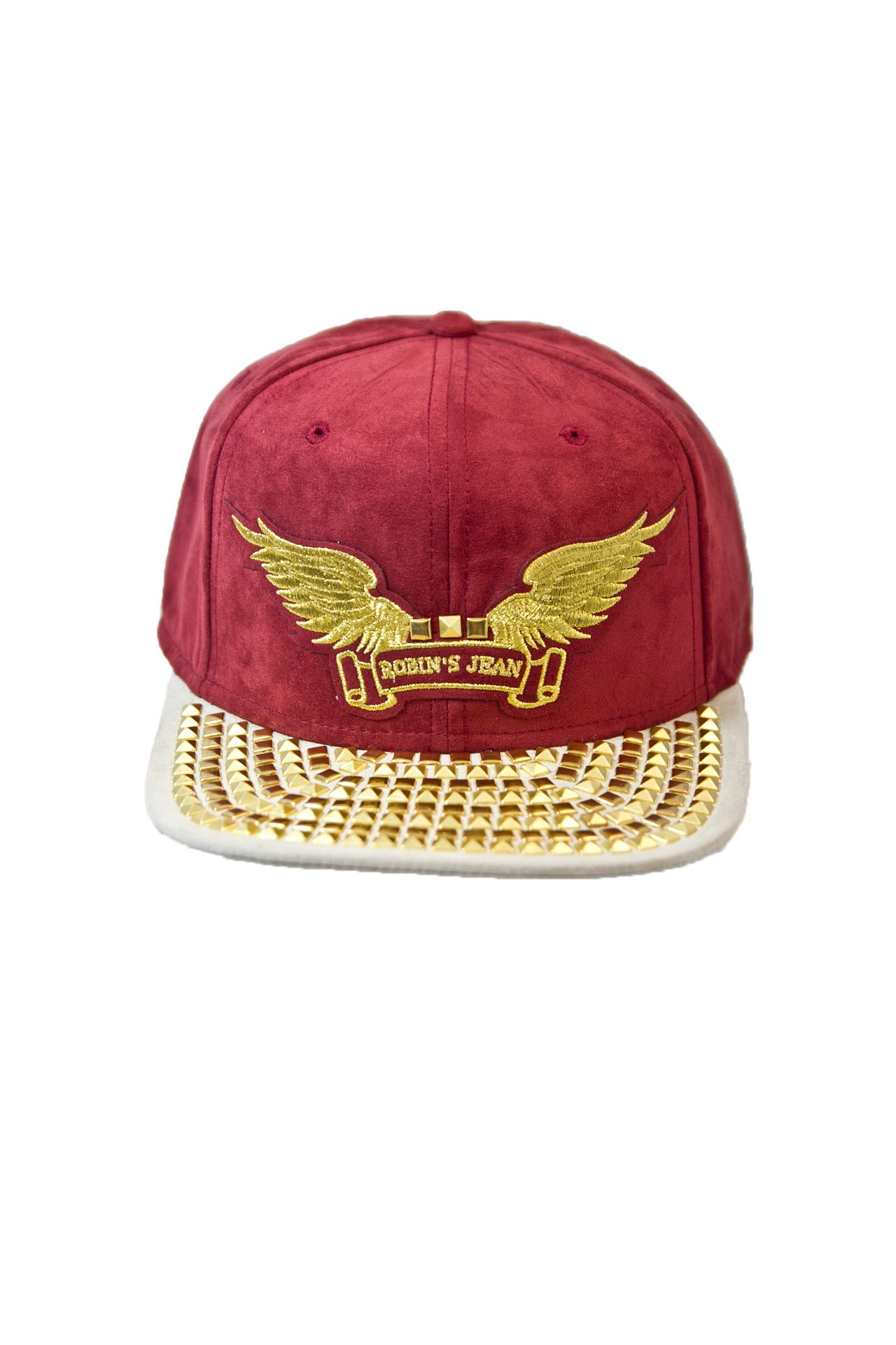 BURGUNDY SUEDE CAP 2 TONES WITH GOLD PYRAMIDS