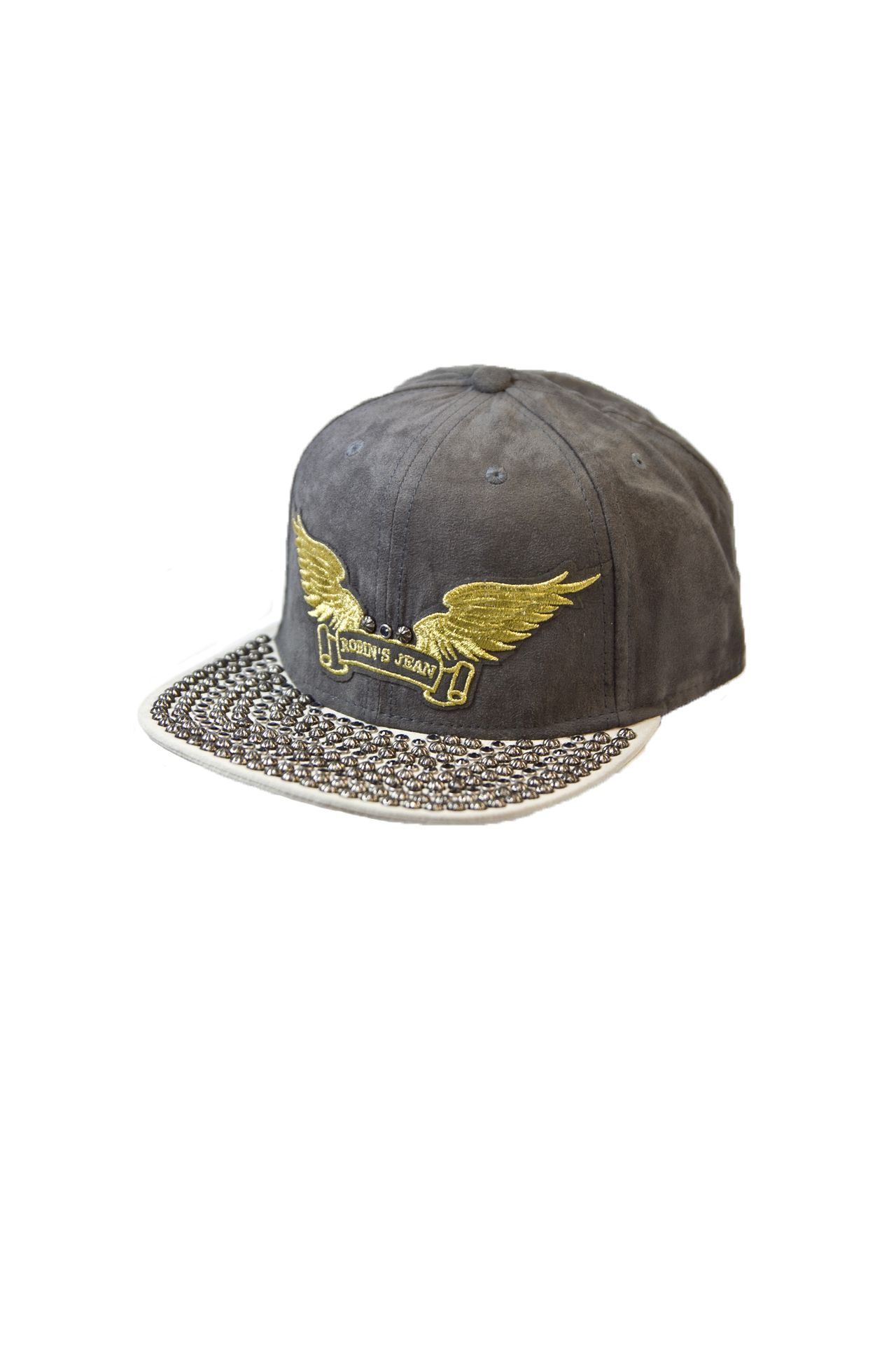 CHARCOAL SUEDE CAP 2 TONES WITH CRYSTALS AND STUDS