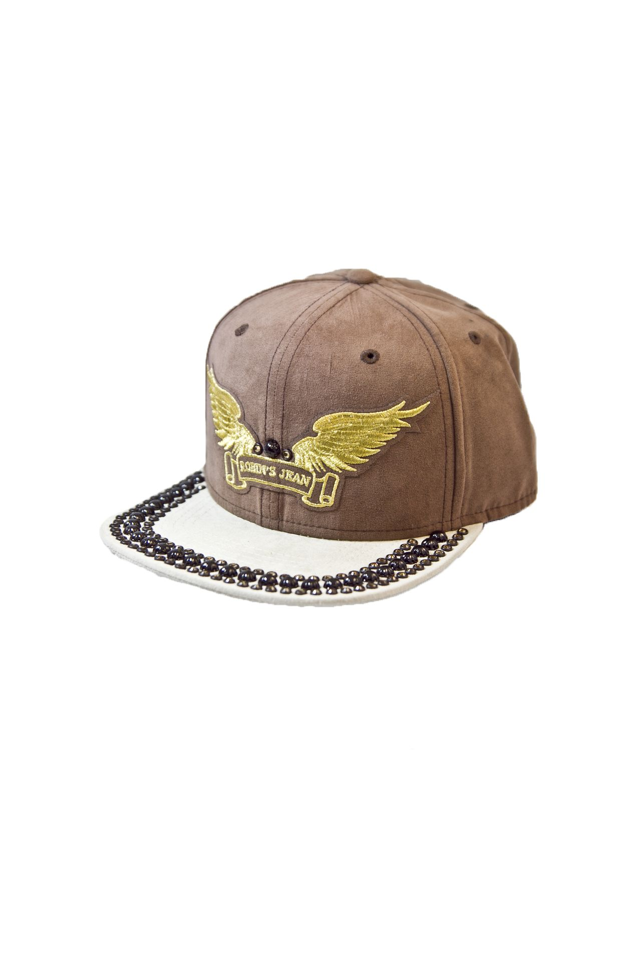 BROWN SUEDE CAP 2 TONES WITH CRYSTALS AND STUDS