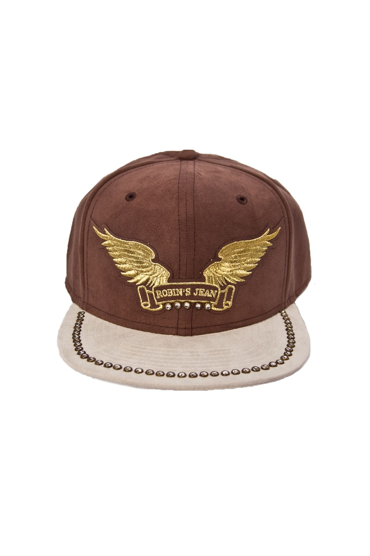 BROWN SUEDE CAP GLD WINGS CRYSTALS