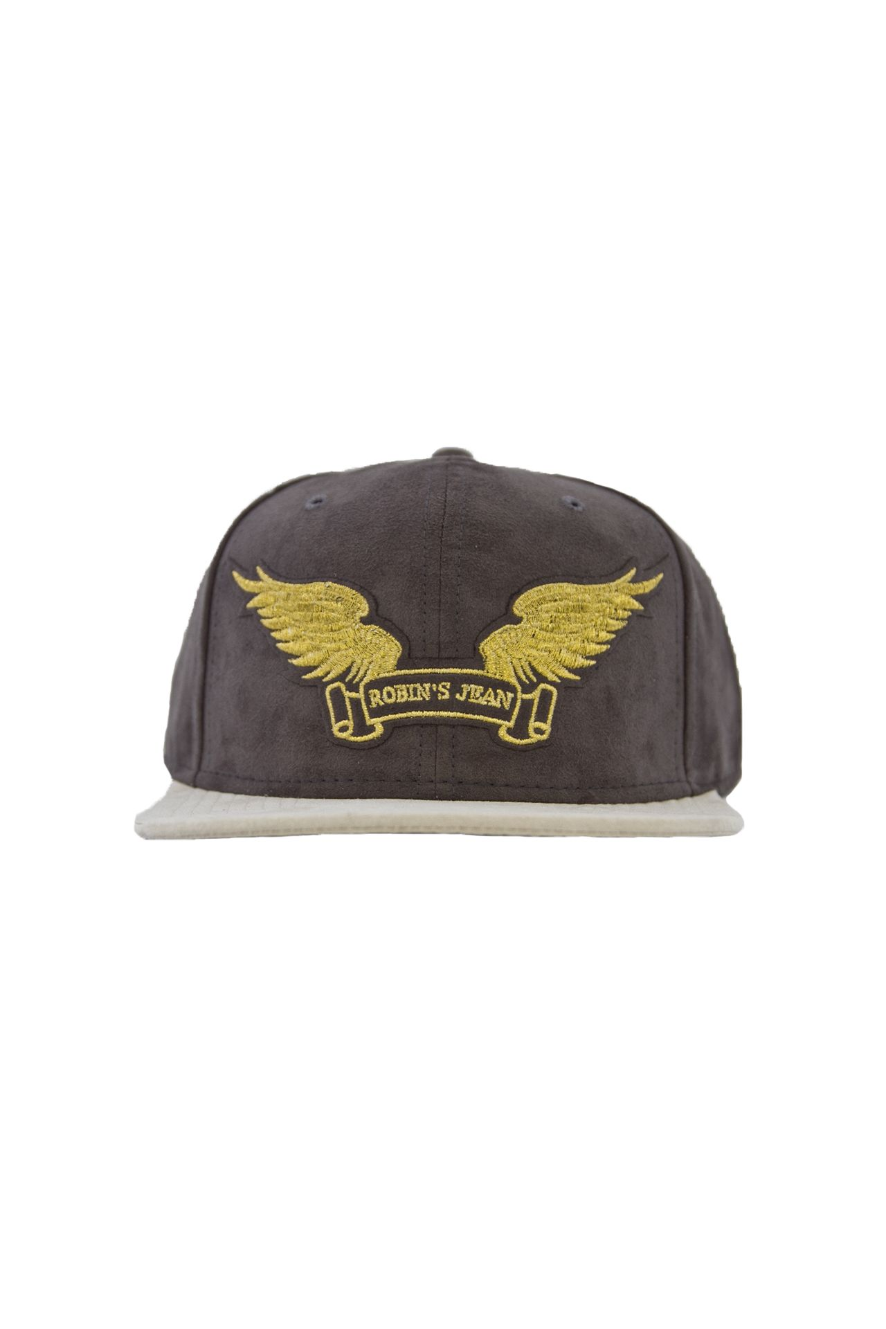 CHARCOAL SUEDE CAP GLD WINGS