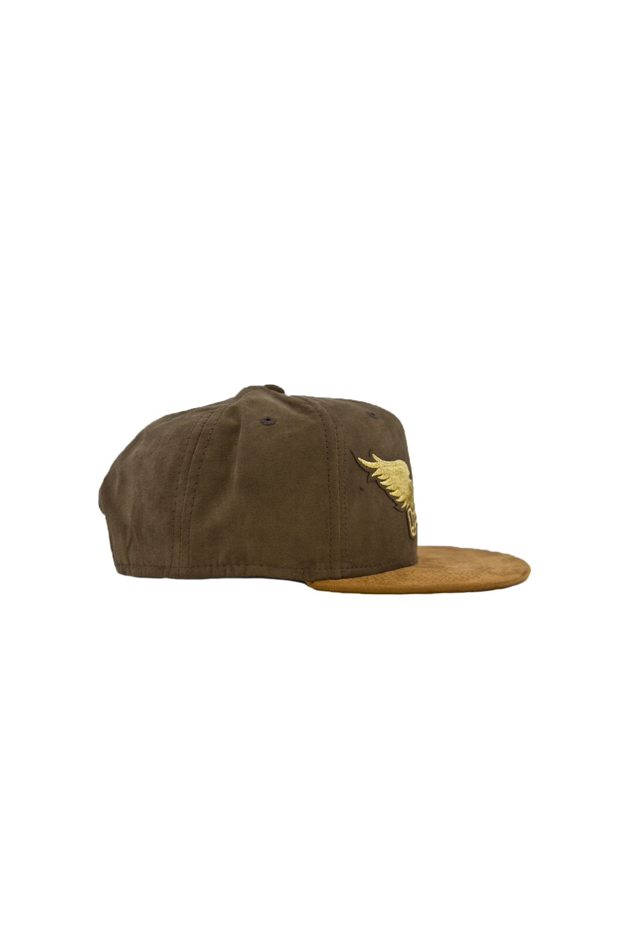 OLIVE & WHEAT SUEDE CAP GLD WINGS