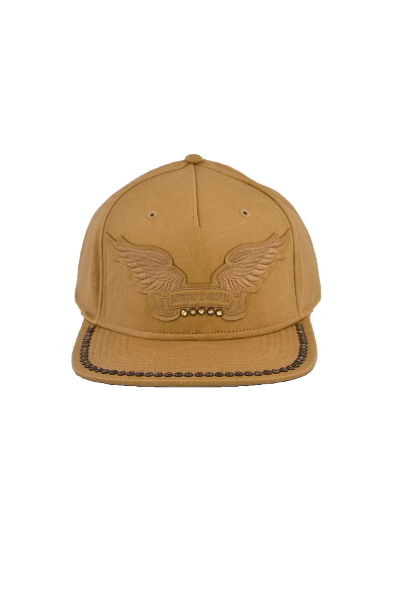 TAN LEATHER LOOK CAP CRYSTALS