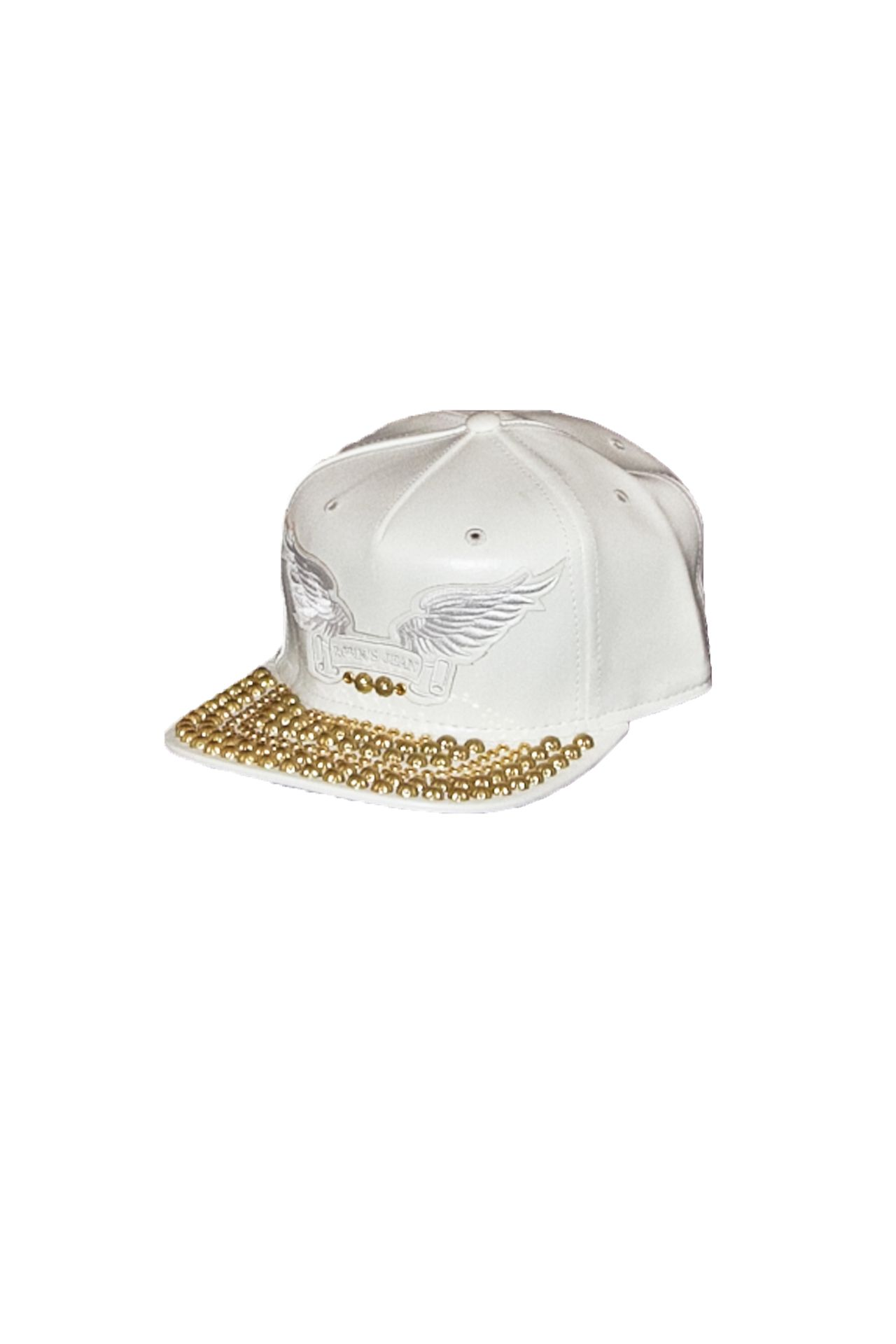 WHITE LEATHER LOOK CAP STUDS AND CRYSTALS