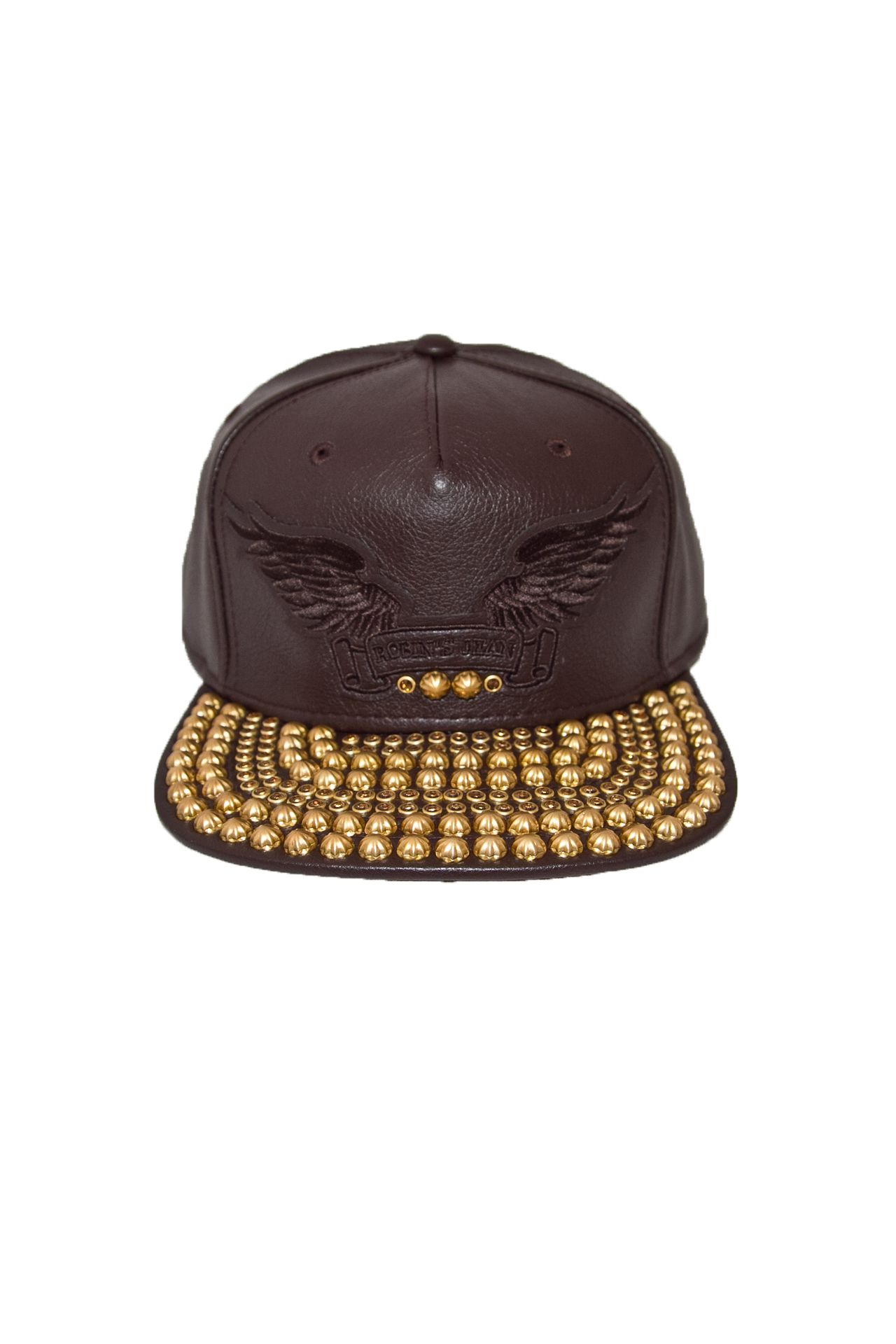BROWN LEATHER LOOK CAP STUDS AND CRYSTALS